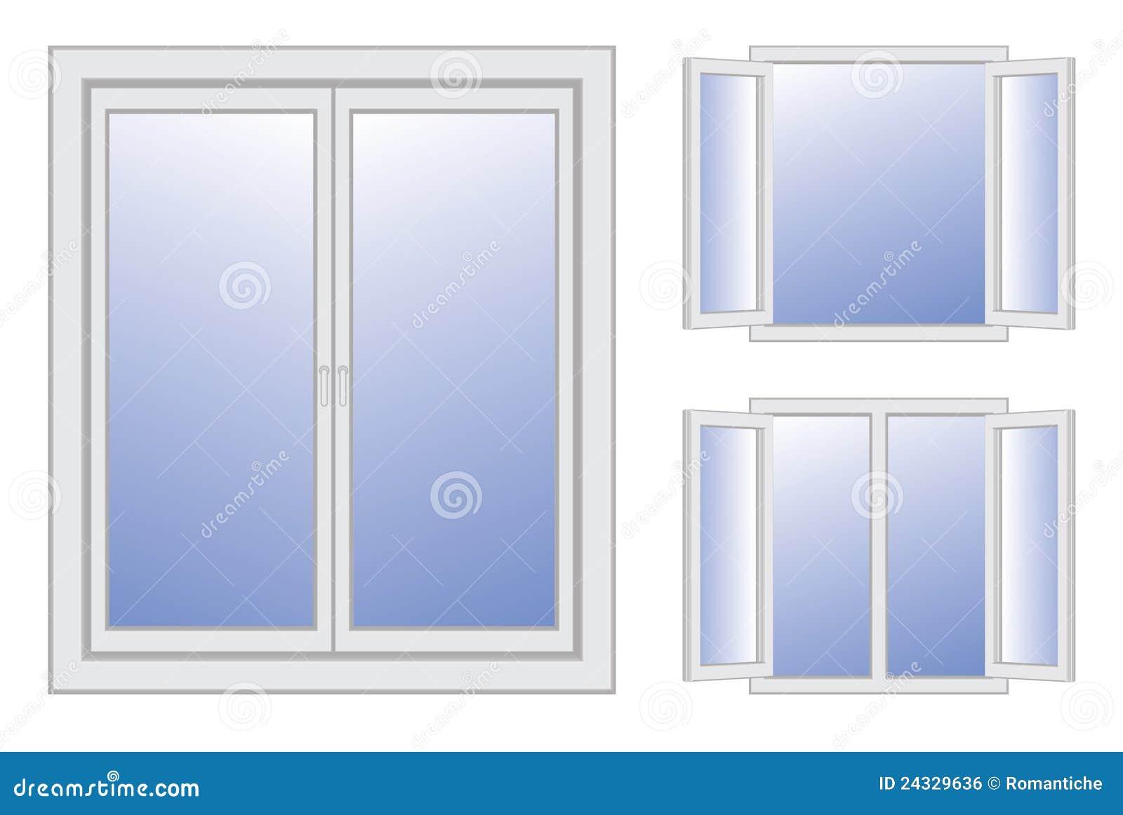 Finestre aperte e chiuse illustrazione vettoriale illustrazione di vetro 24329636 - Finestre condominiali aperte o chiuse ...