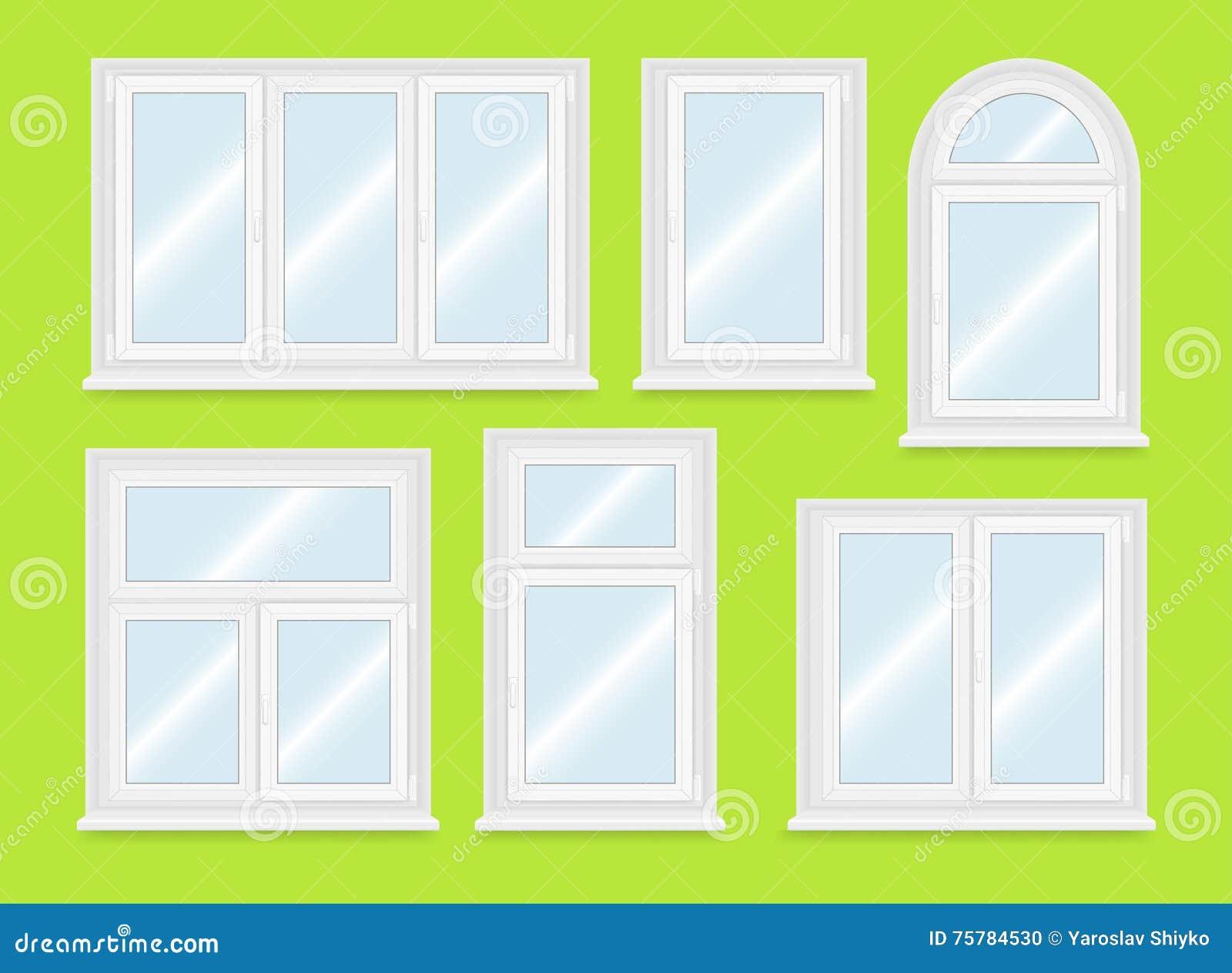 Finestre di plastica bianche realistiche messe for Finestre bianche