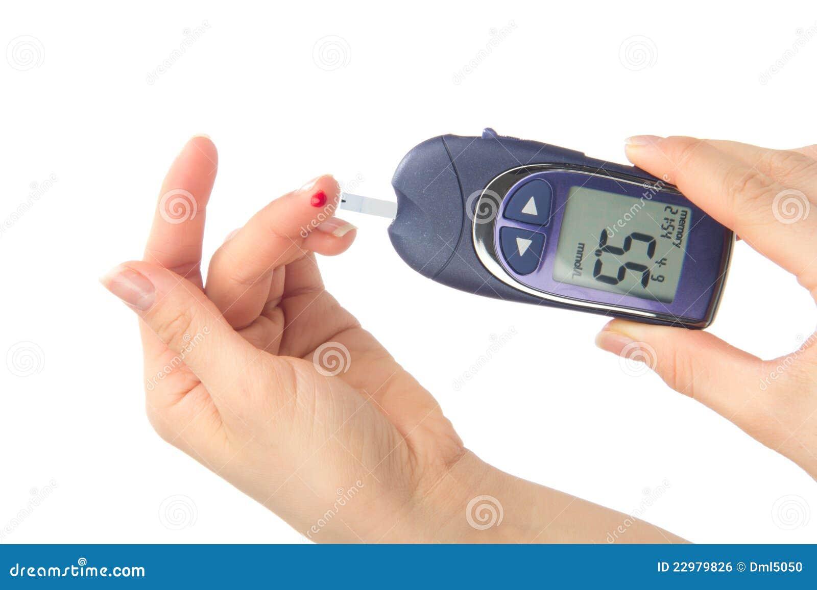 Finger Blood Measure A Glucose Blood Level Test Stock