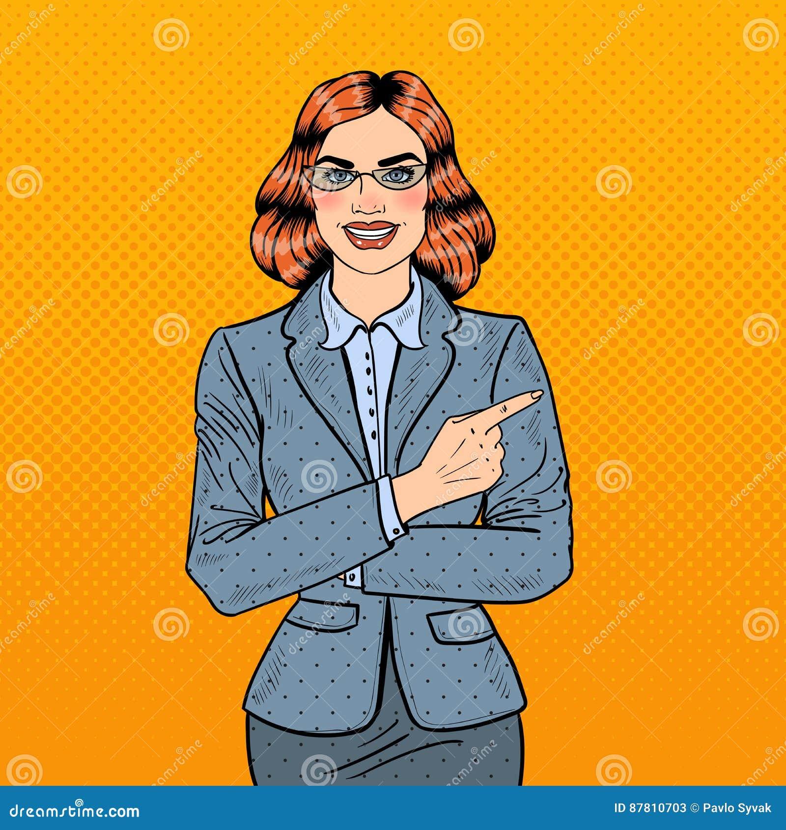 Finger de Art Successful Business Woman Pointing del estallido en espacio de la copia