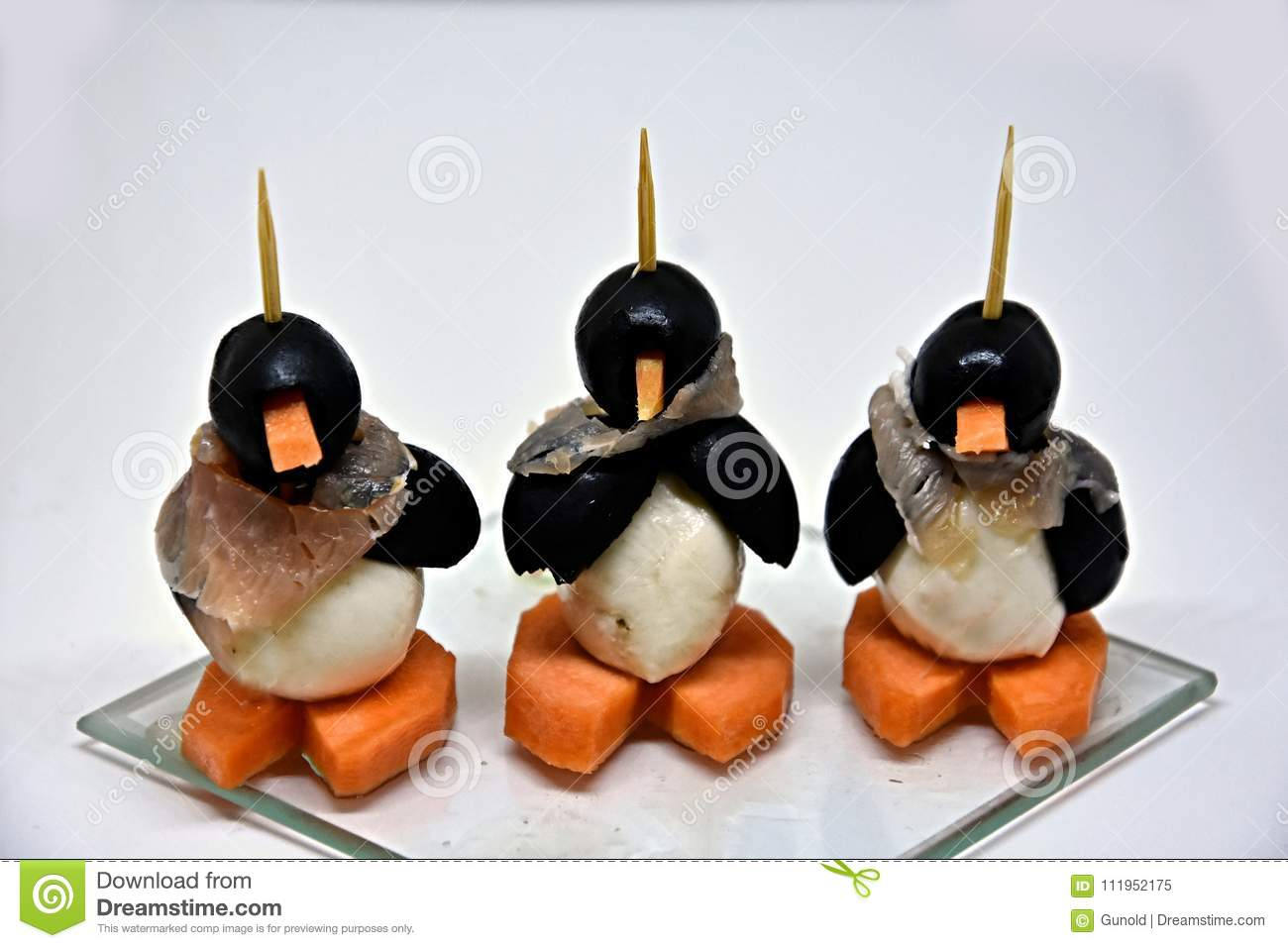 Finger Food Funny Edible Small Penguins Stock Image Image Of