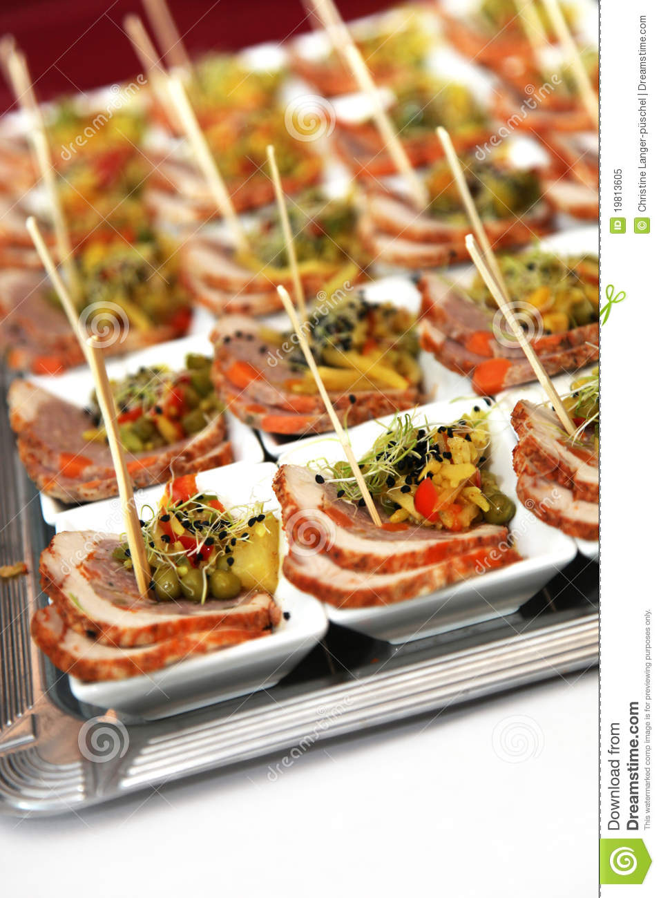 Finger Food Meat In Small Bowls Stock Image Image