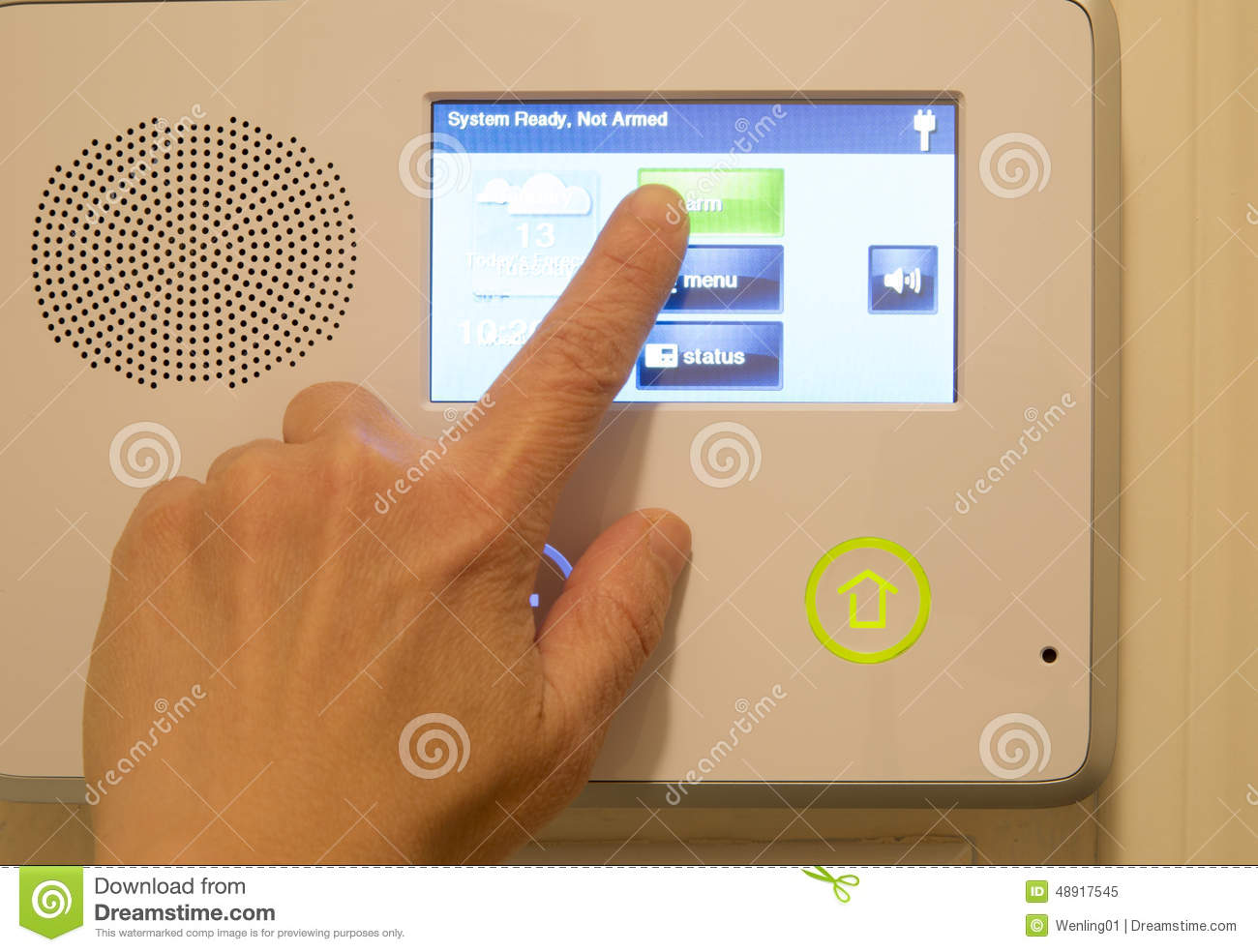 Finger on house security alarm