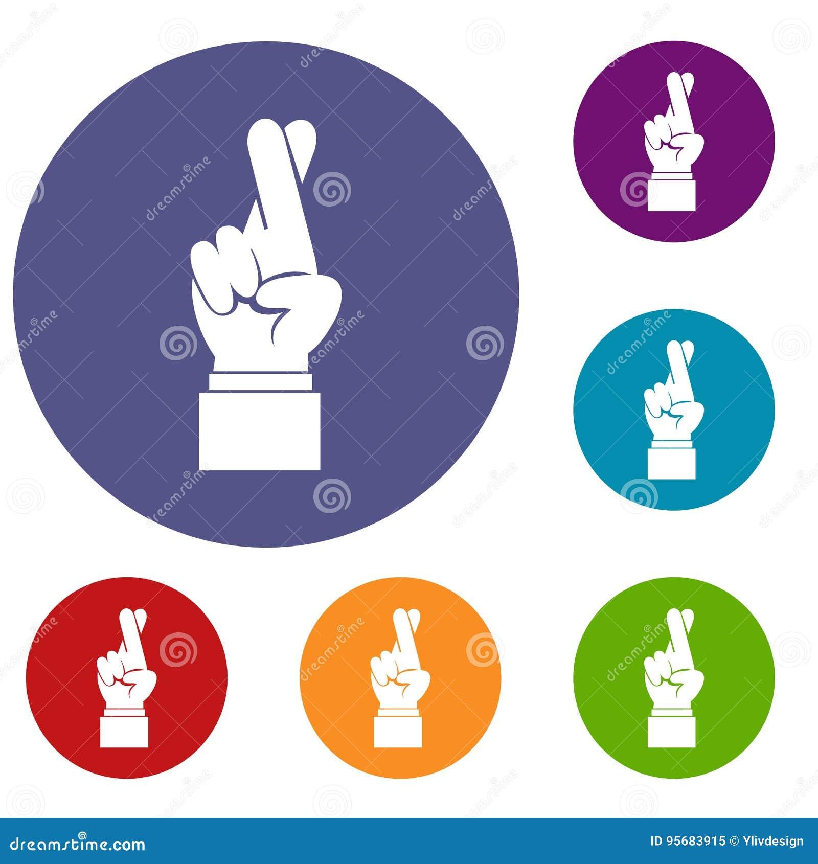 Finger kreuzten die eingestellten Ikonen