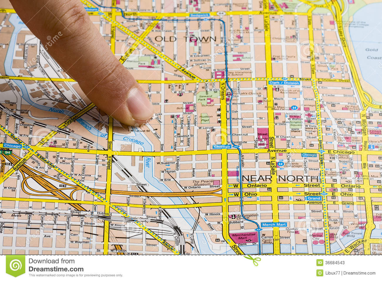 Finger On Map Stock Photos Image - Chicago map download