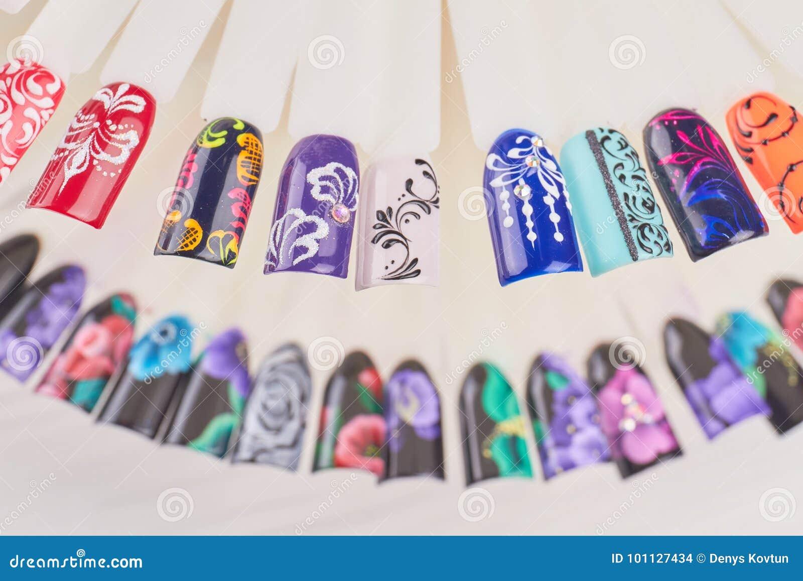 Finger Nail Art Design Samples. Stock Photo - Image of nail ...