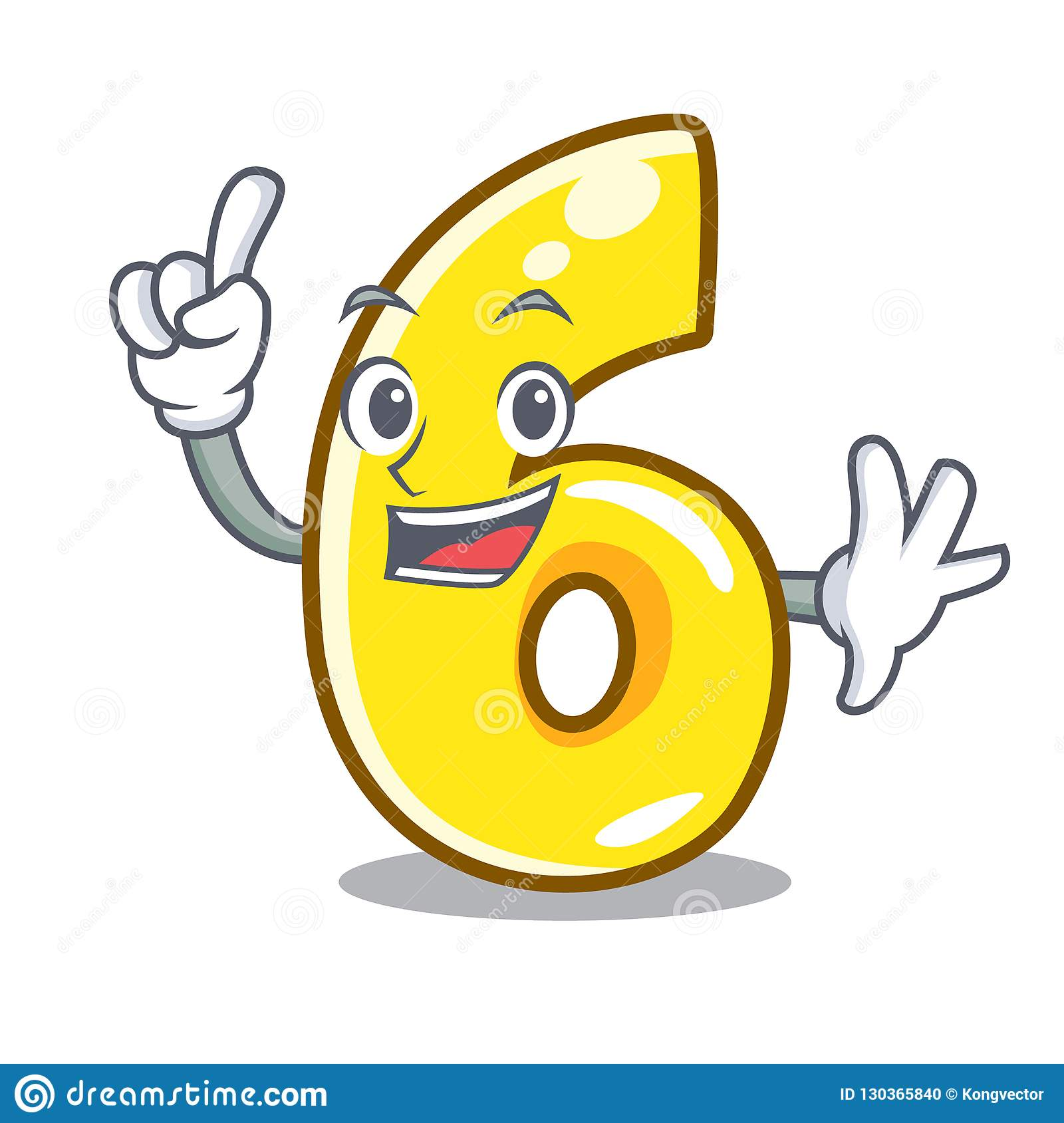 Finger number six isolated on the mascot