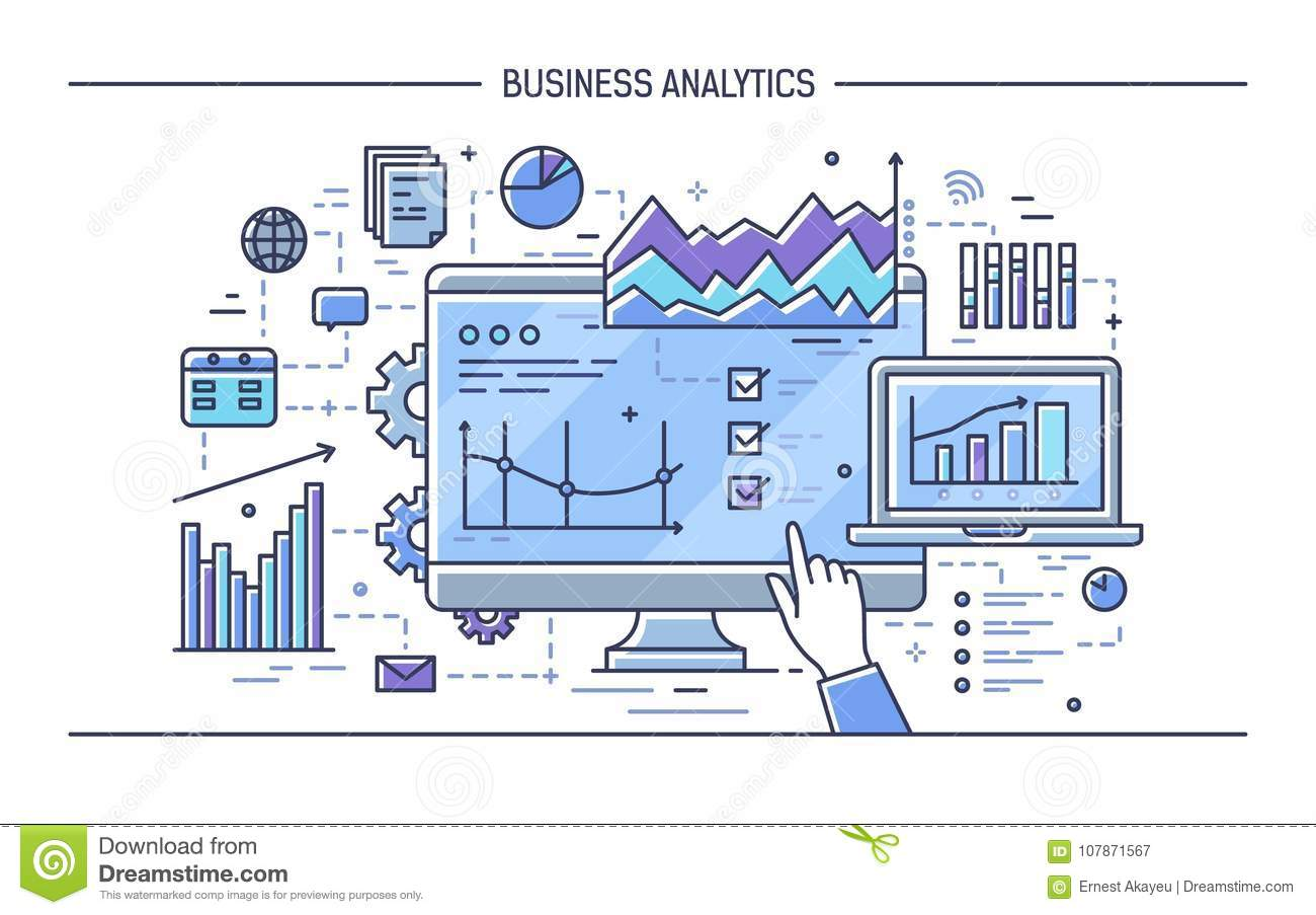 Finger pointing at computer display with different diagrams, charts and graphs. Concept of statistical data analysis