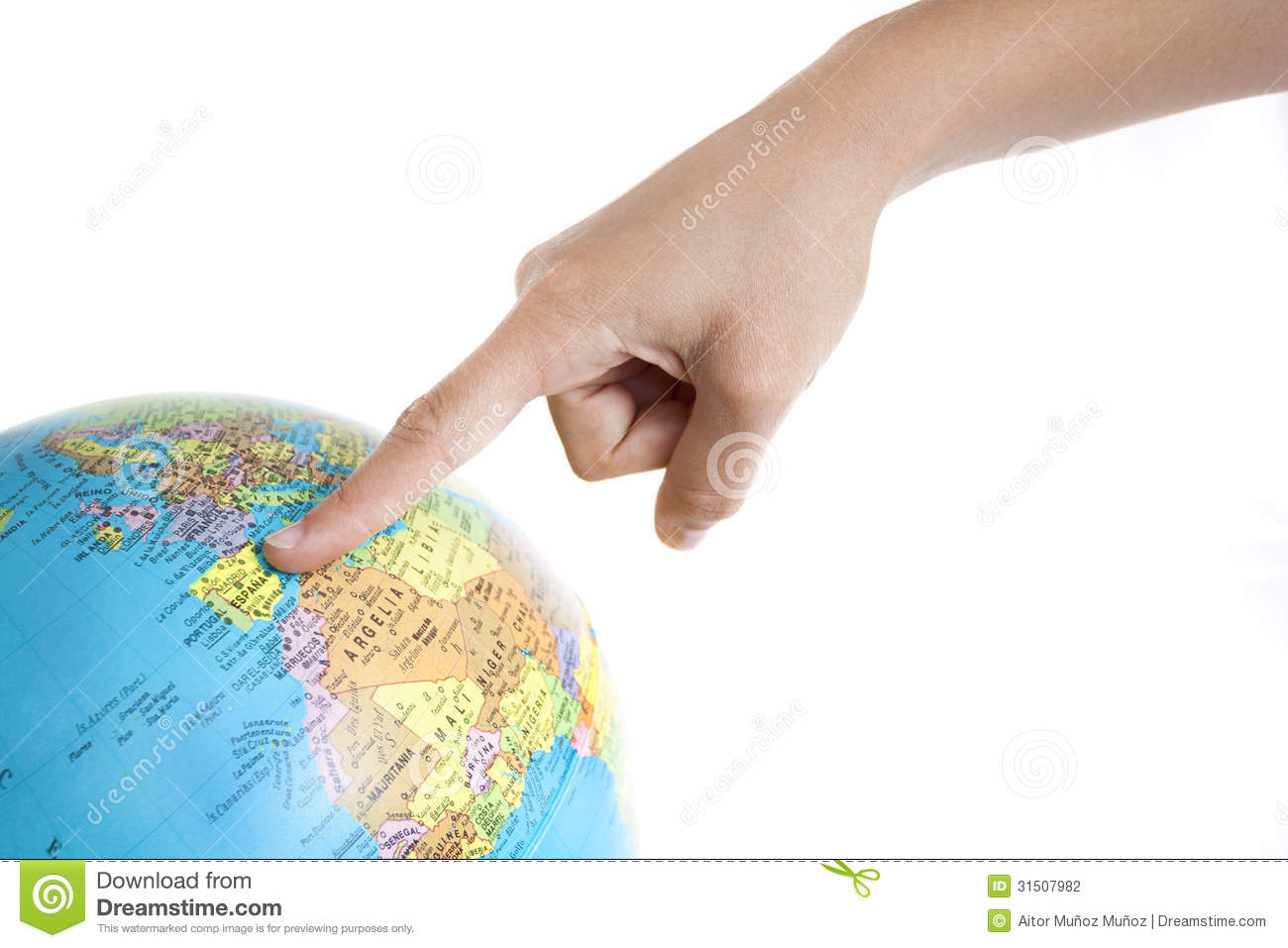 A Finger Pointing To Spain In A World Globe Stock Photo - Image of ...