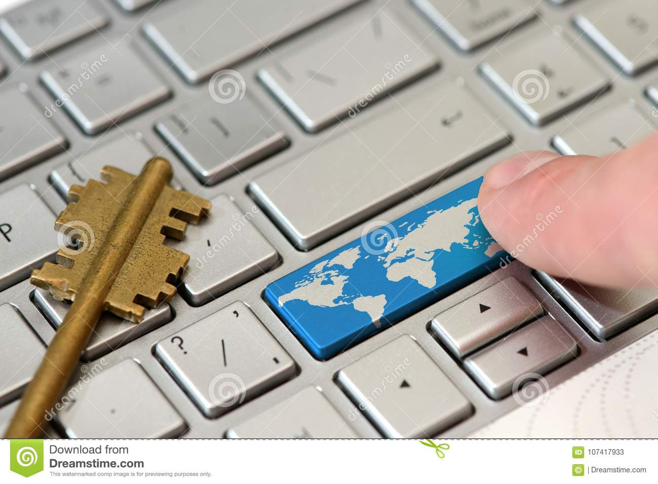 A finger press a button with world map on a keyboard stock image download a finger press a button with world map on a keyboard stock image image gumiabroncs Gallery