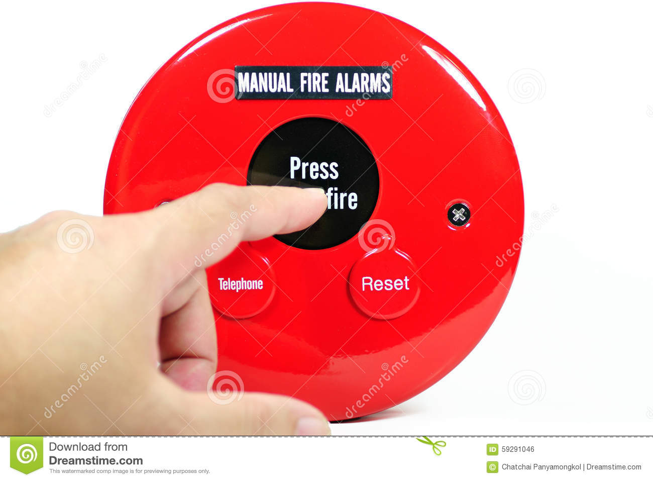 Finger pressing on manual fire alarm stock photo image