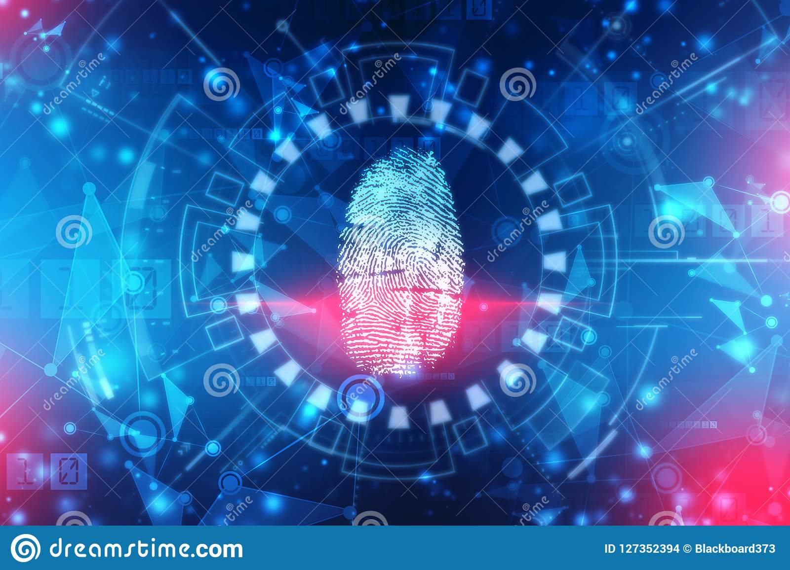 Finger print Scanning Identification System. Biometric Authorization and Business Security Concept