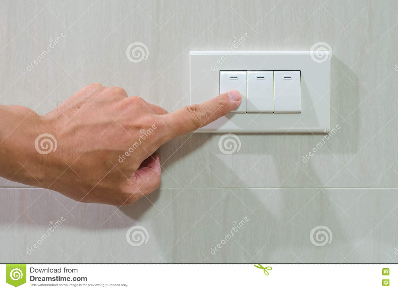 Finger Put Off Switch For Save Energy Concept Stock Photo - Image of ...
