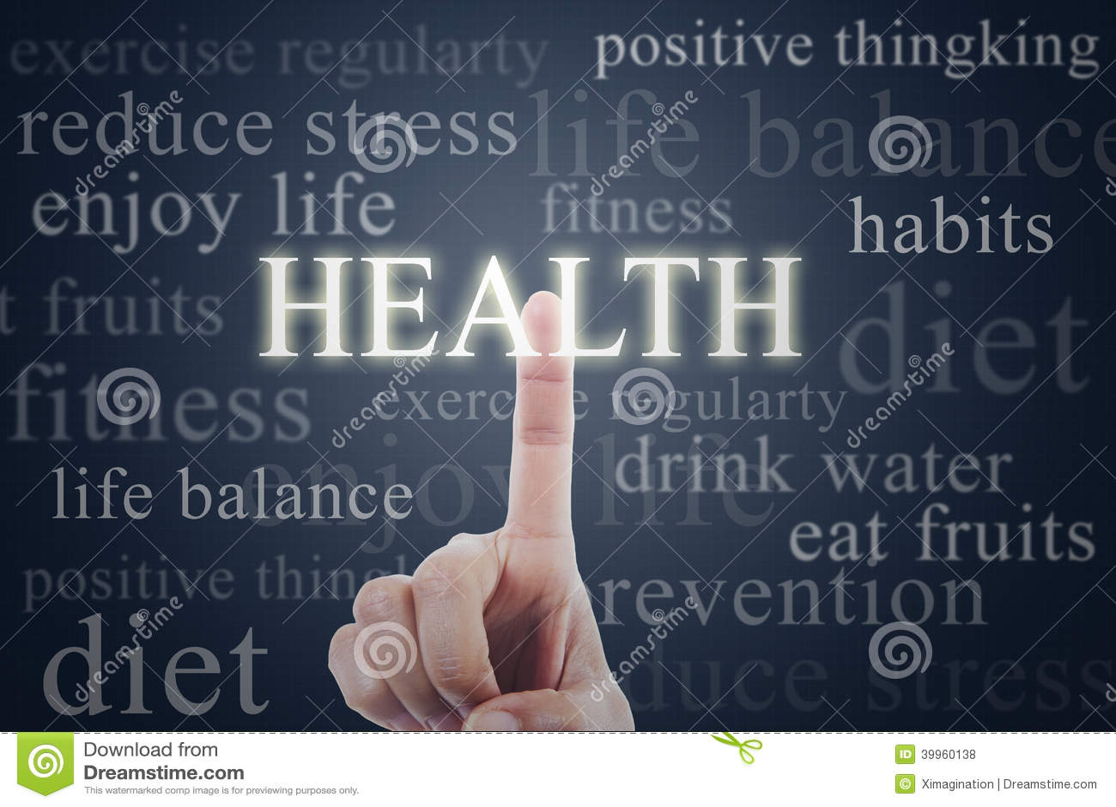 Finger que presiona palabra de la salud