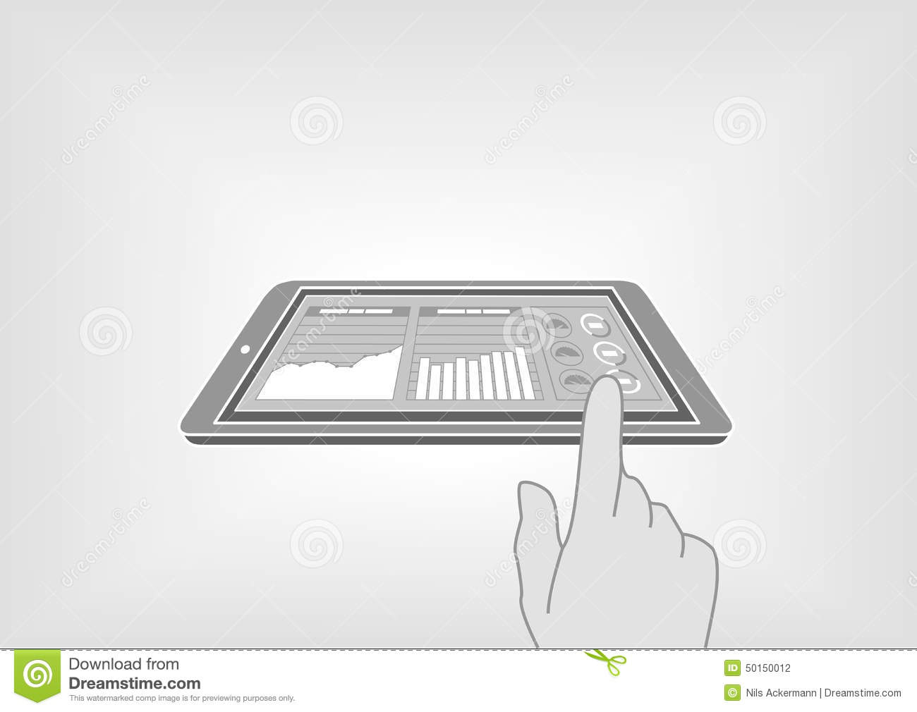 Finger Swiping Smart Phone Or Tablet To Access Digital Information Diagram Of Fingertips Via Dashboard
