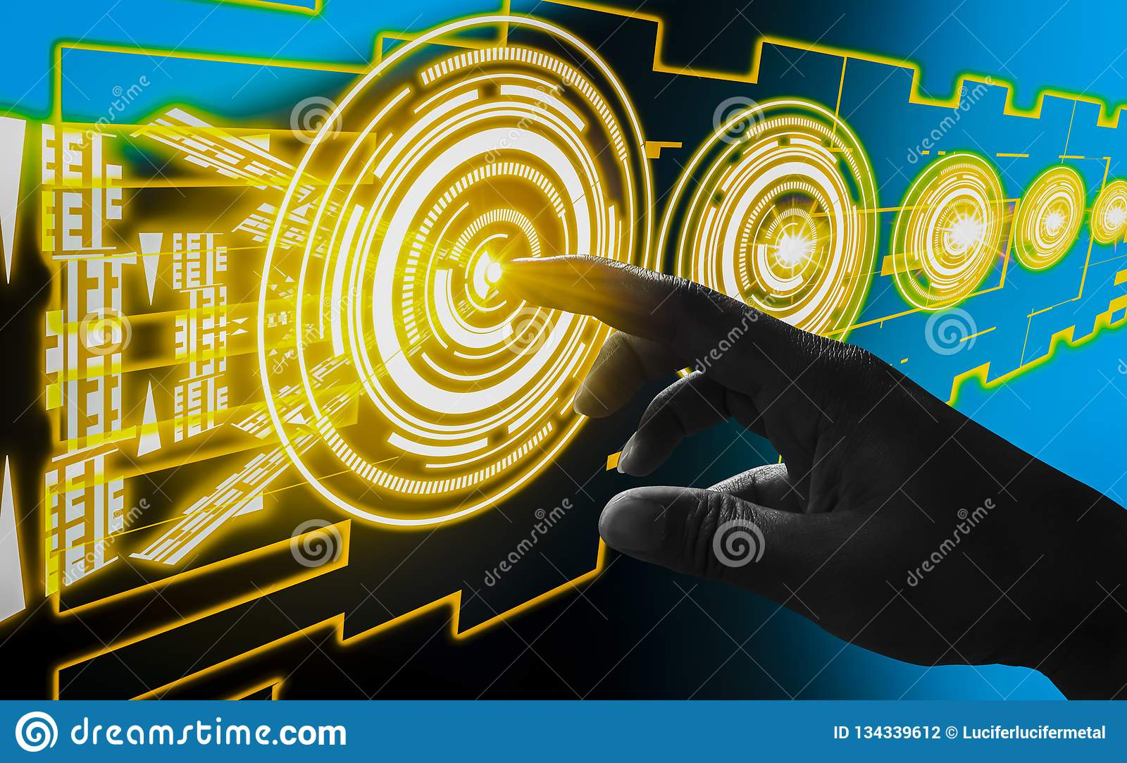 Finger touch interface abstract concepts, involving very modern futuristic technology and design,with innovative humanity,creating