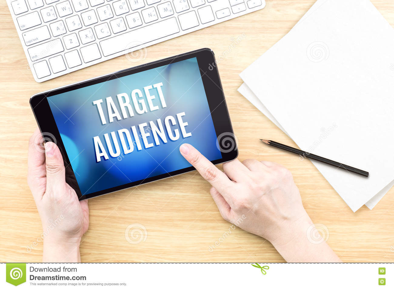 Finger touch screen with target audience word with keyboard on w