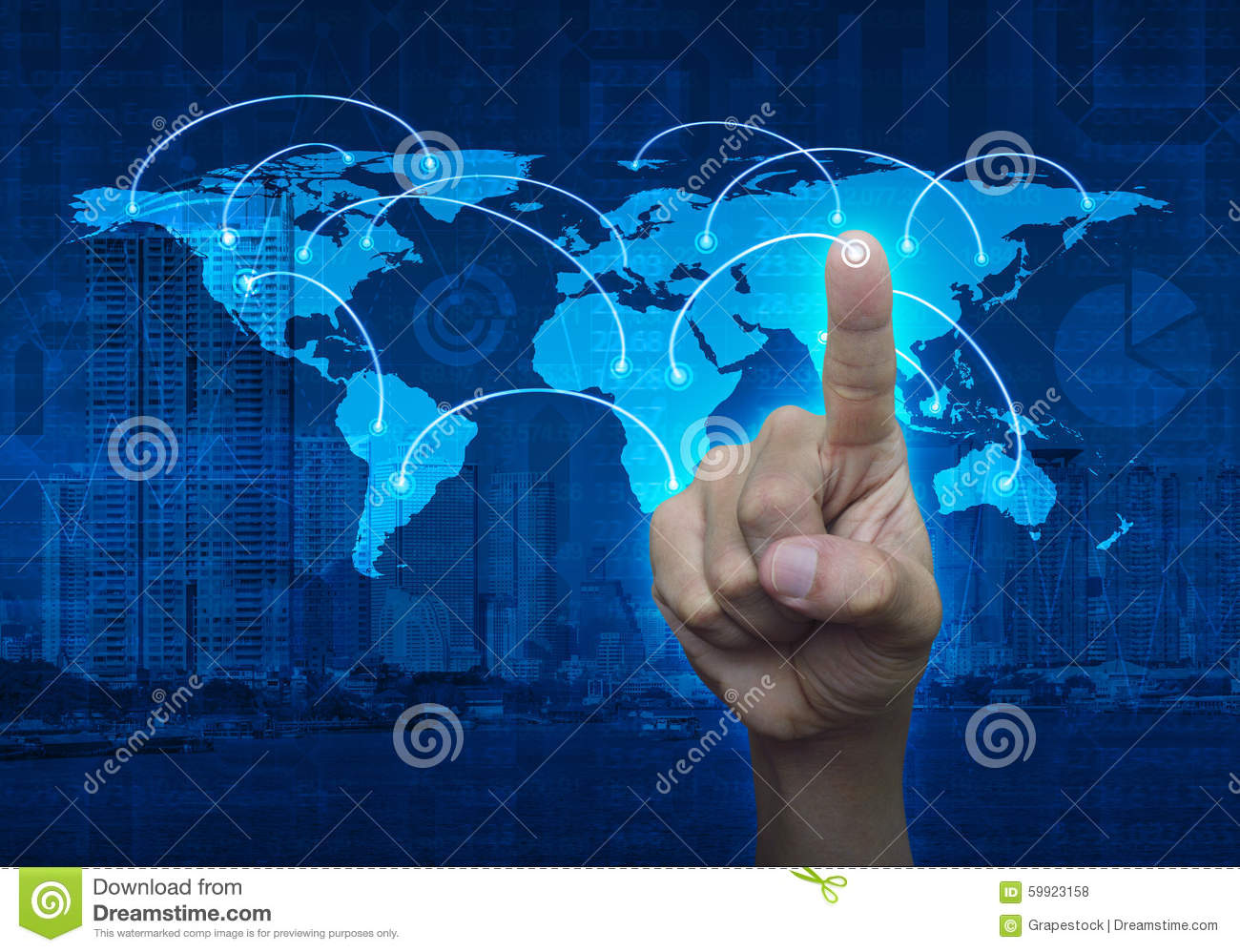 Finger touching on the touch screen with world map and city back royalty free stock photo gumiabroncs Choice Image