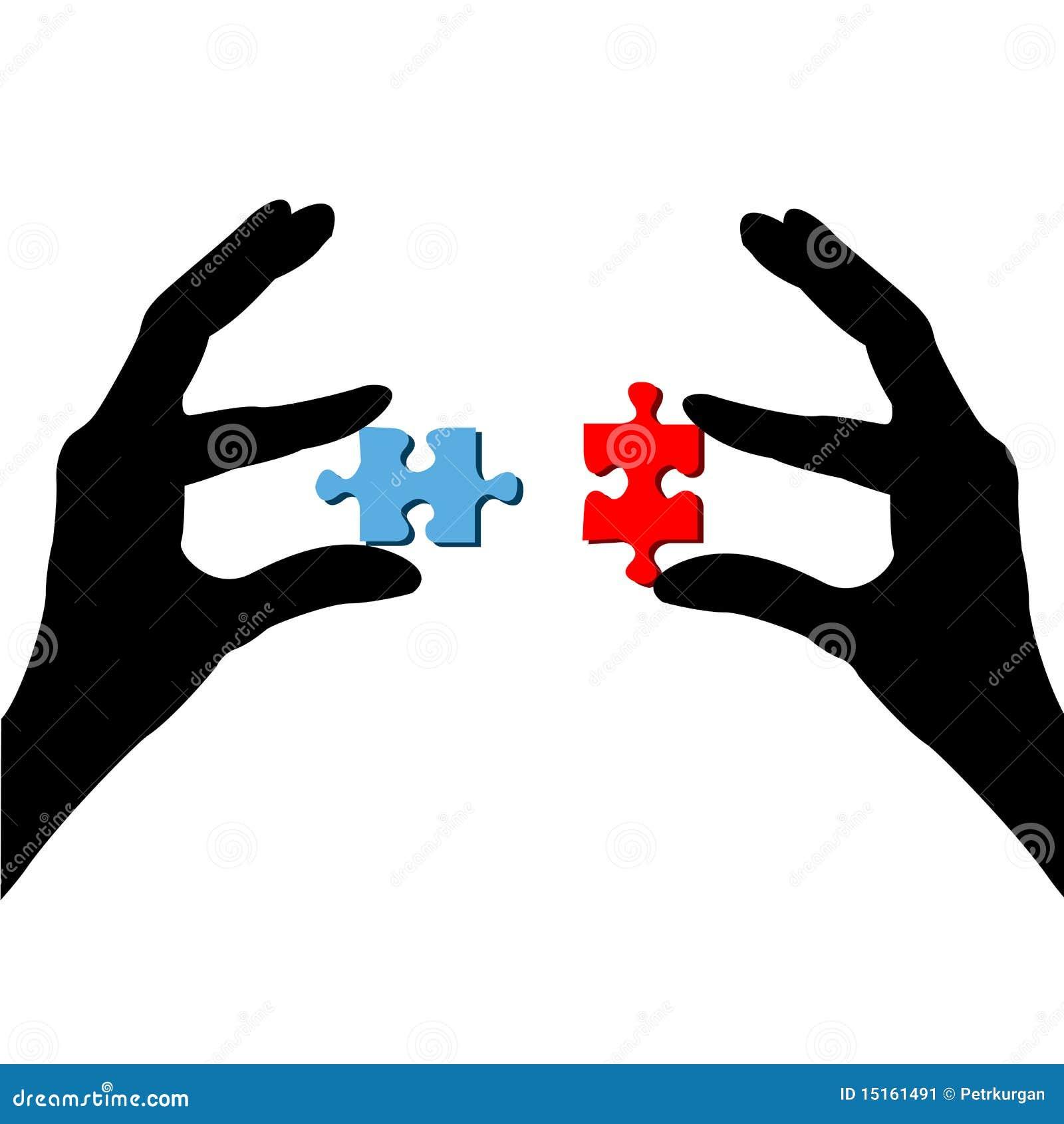 Finger und Puzzlespiel