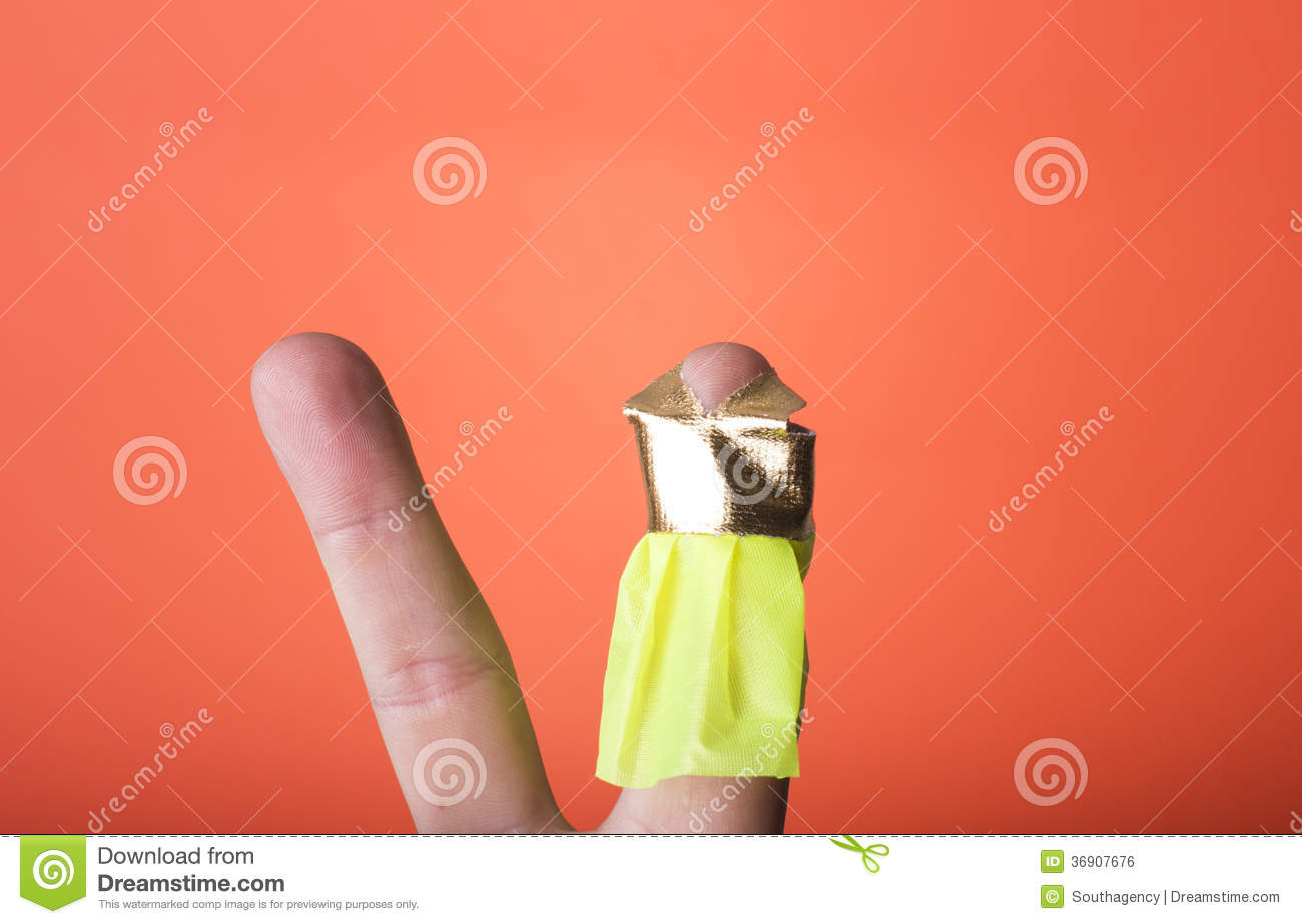 Finger Wearing A Dress.You Can Draw What You Want Stock