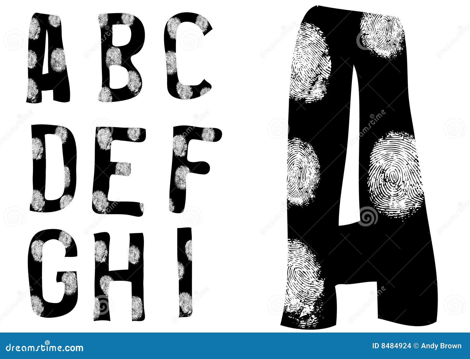 Fingerabdruck-Alphabet voll A bis I (stellen Sie 1 von 3) ein