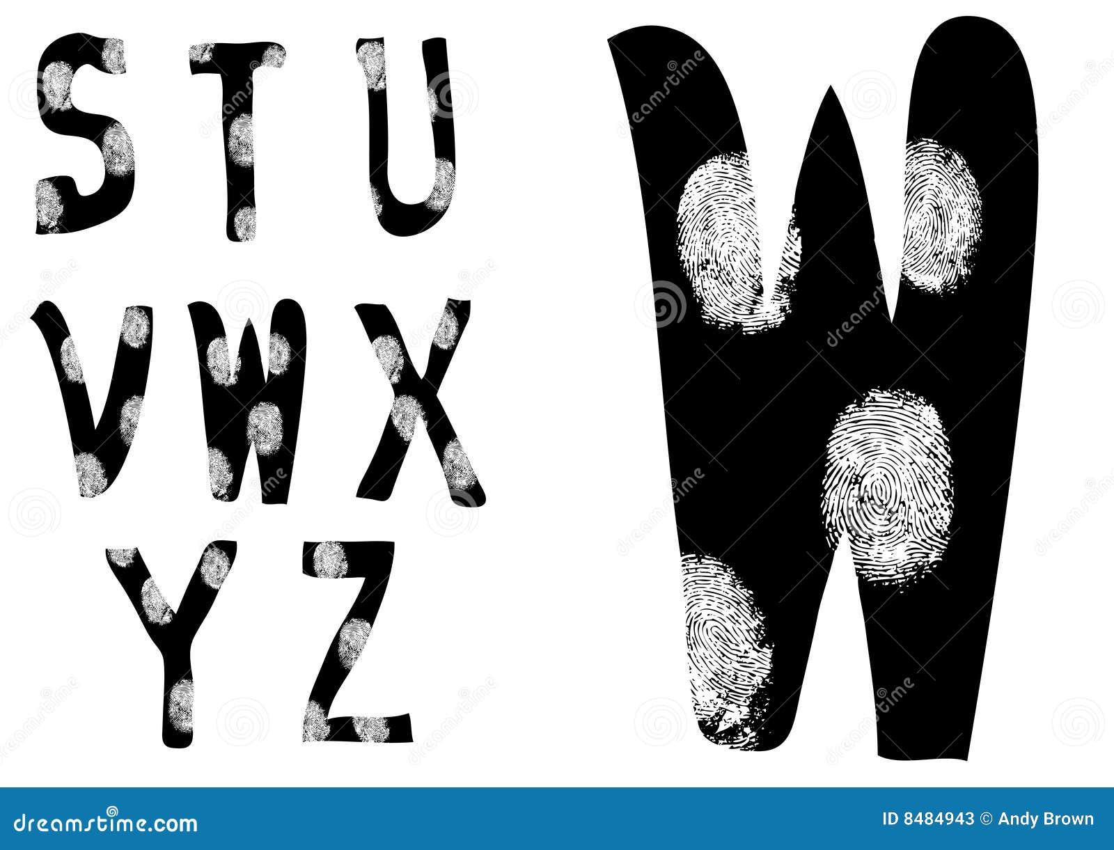 Fingerabdruck-Alphabet volles S bis Z (stellen Sie 3 von 3) ein