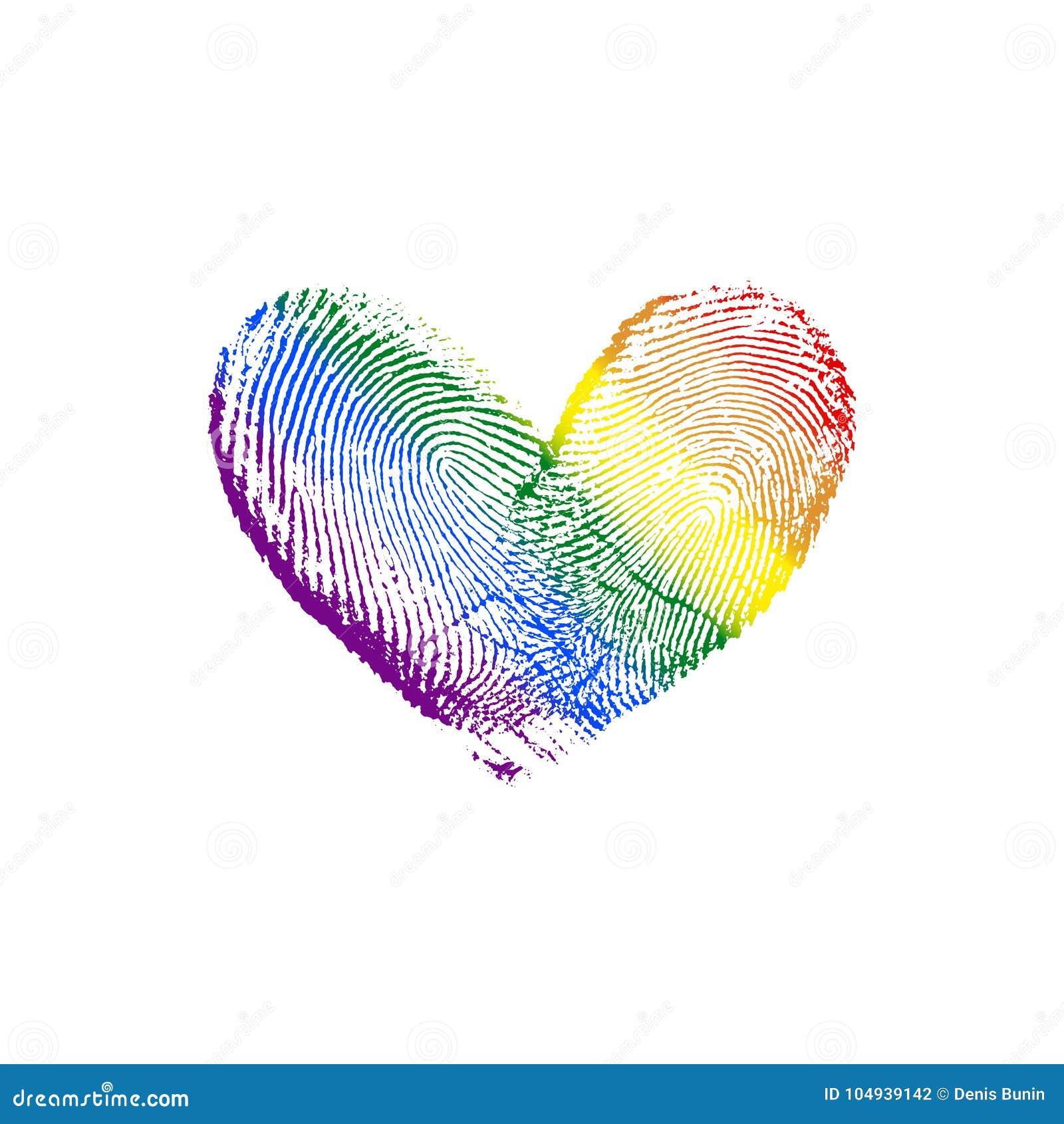 Fingerabdruck Herz Regenbogen Diagonale U X28 Recht Zum Left X29