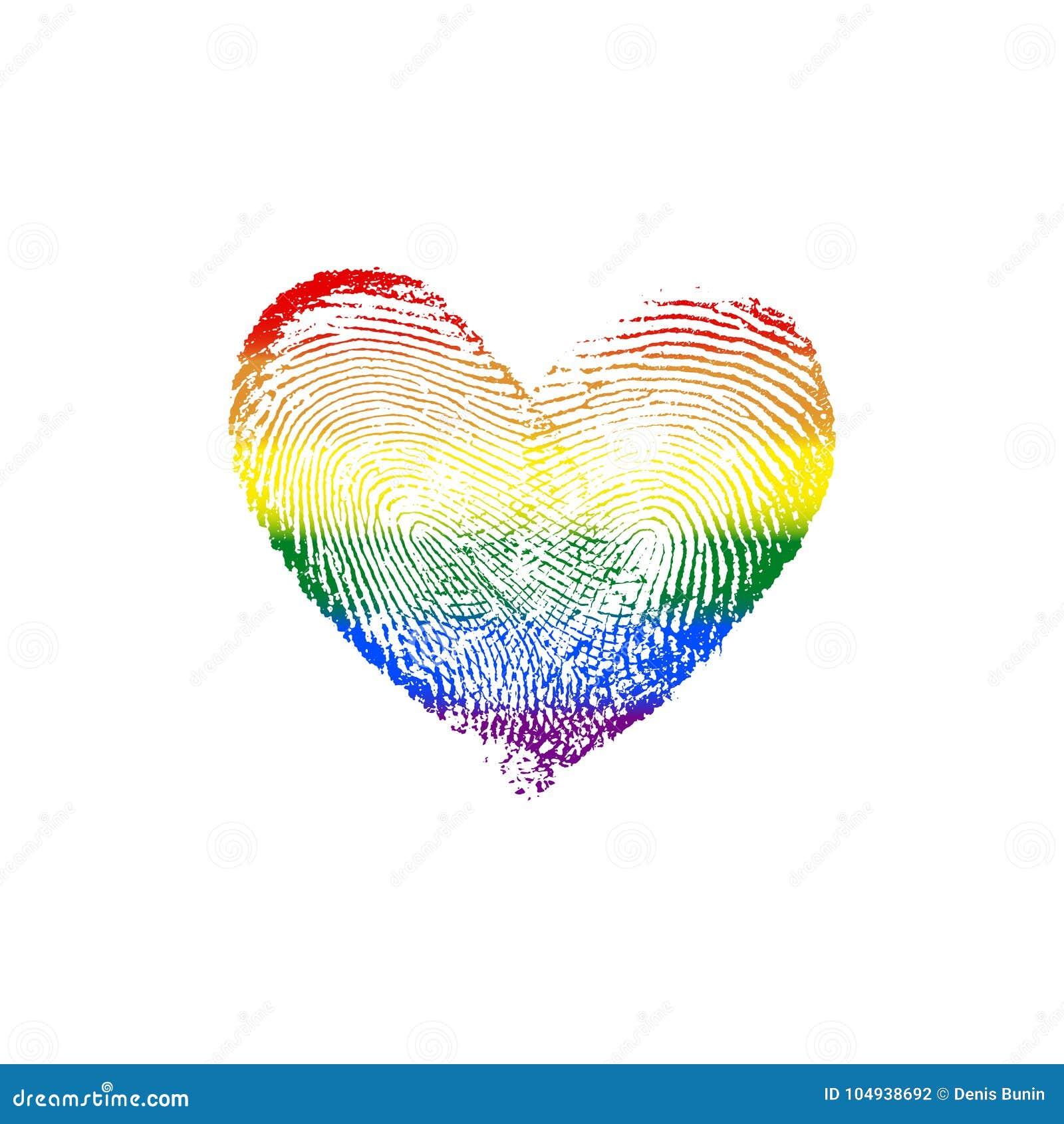 Fingerabdruck Herz Regenbogen V Vektor Abbildung Illustration Von