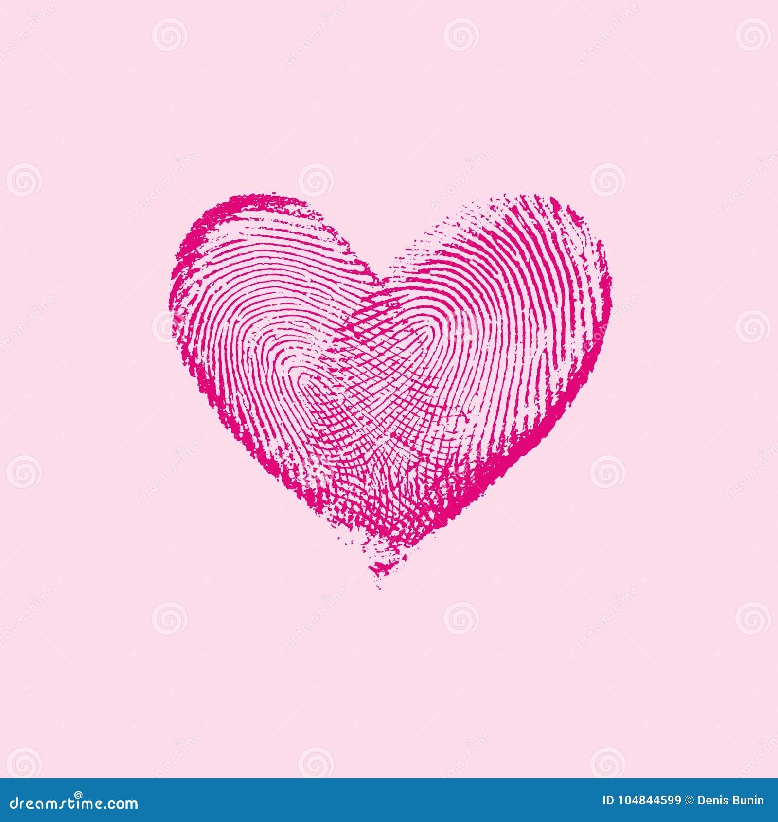 Fingerabdruck Herz Rosa I Vektor Abbildung Illustration Von Freund