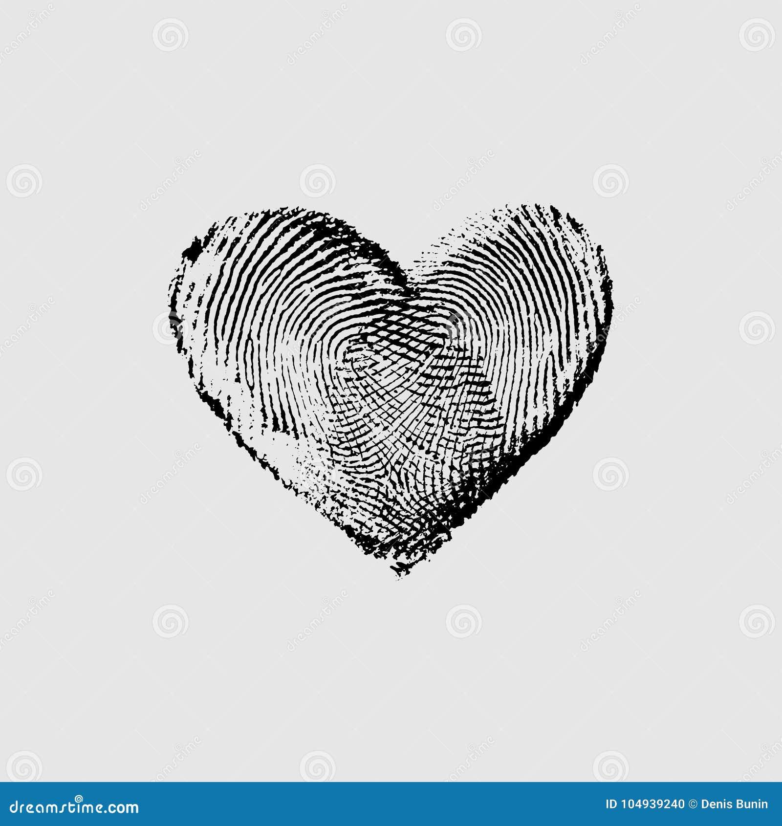 Fingerabdruck Herz Schwarzes Iv Vektor Abbildung Illustration Von