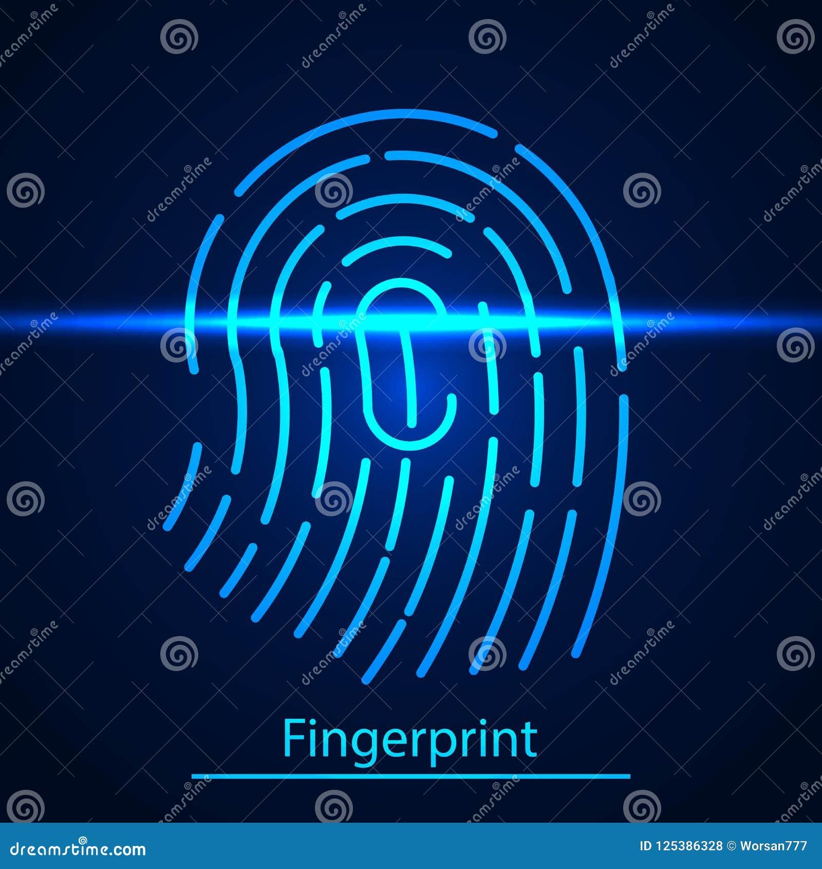 Fingerabdrucktechnologiescannen Identifizierungssystem Fingerabdruck auf blauem Überprüfungslaser-Schirm