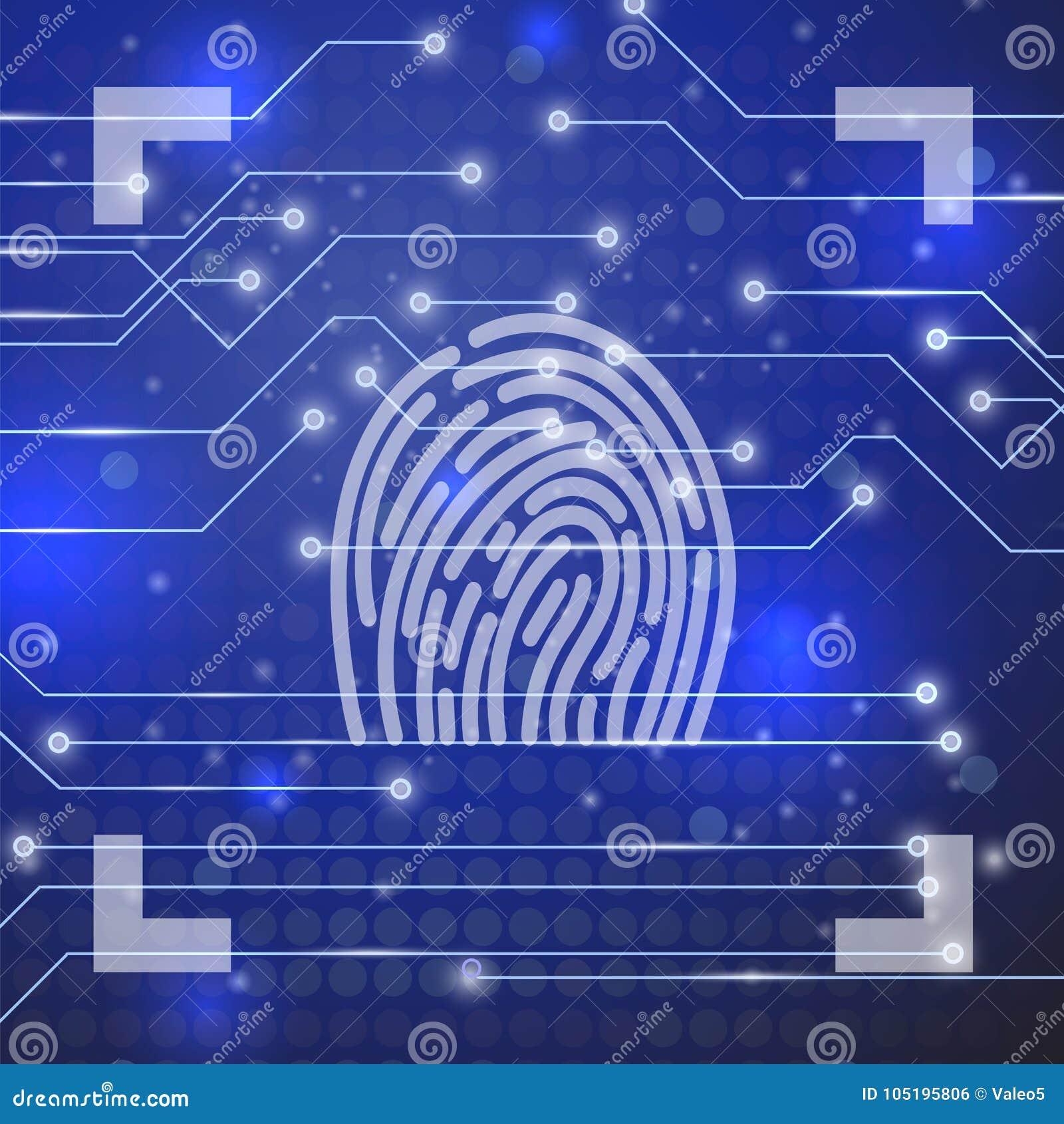 Fingeravtryck på blå bakgrund