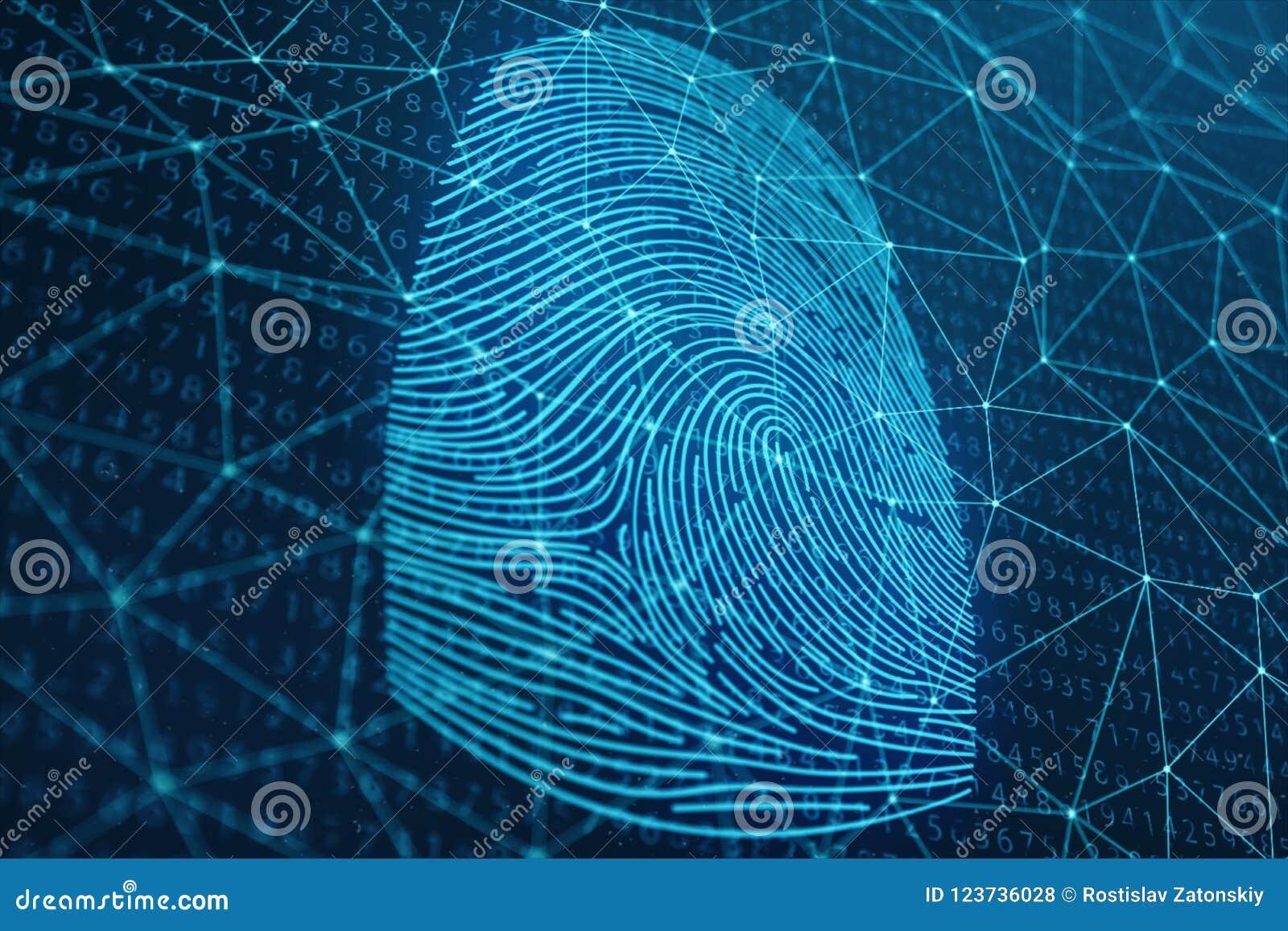 Fingeravtryckbildläsningen för illustrationen 3D ger säkerhetstillträde med biometricsID Begreppsfingeravtryckskydd