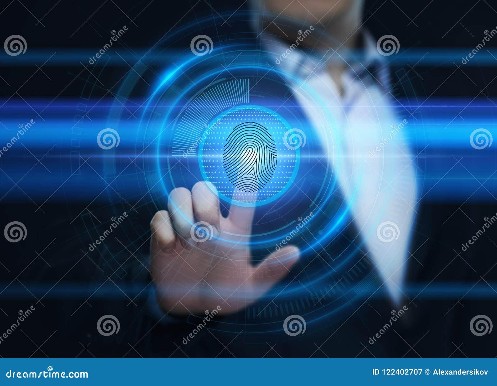 Fingeravtryckbildläsningen ger säkerhetstillträde med biometricsID Begrepp för internet för affärsteknologisäkerhet