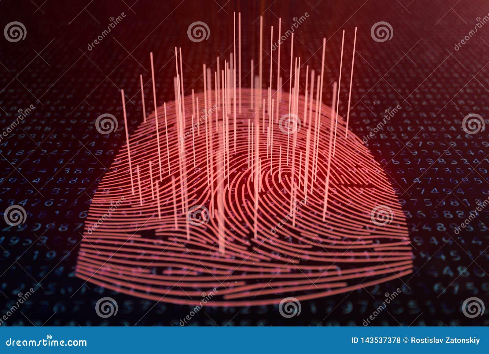 Fingeravtryckbildl?sningen f?r illustrationen 3D ger s?kerhetstilltr?de med biometricsID Begreppsfingeravtryckdataintr?ng