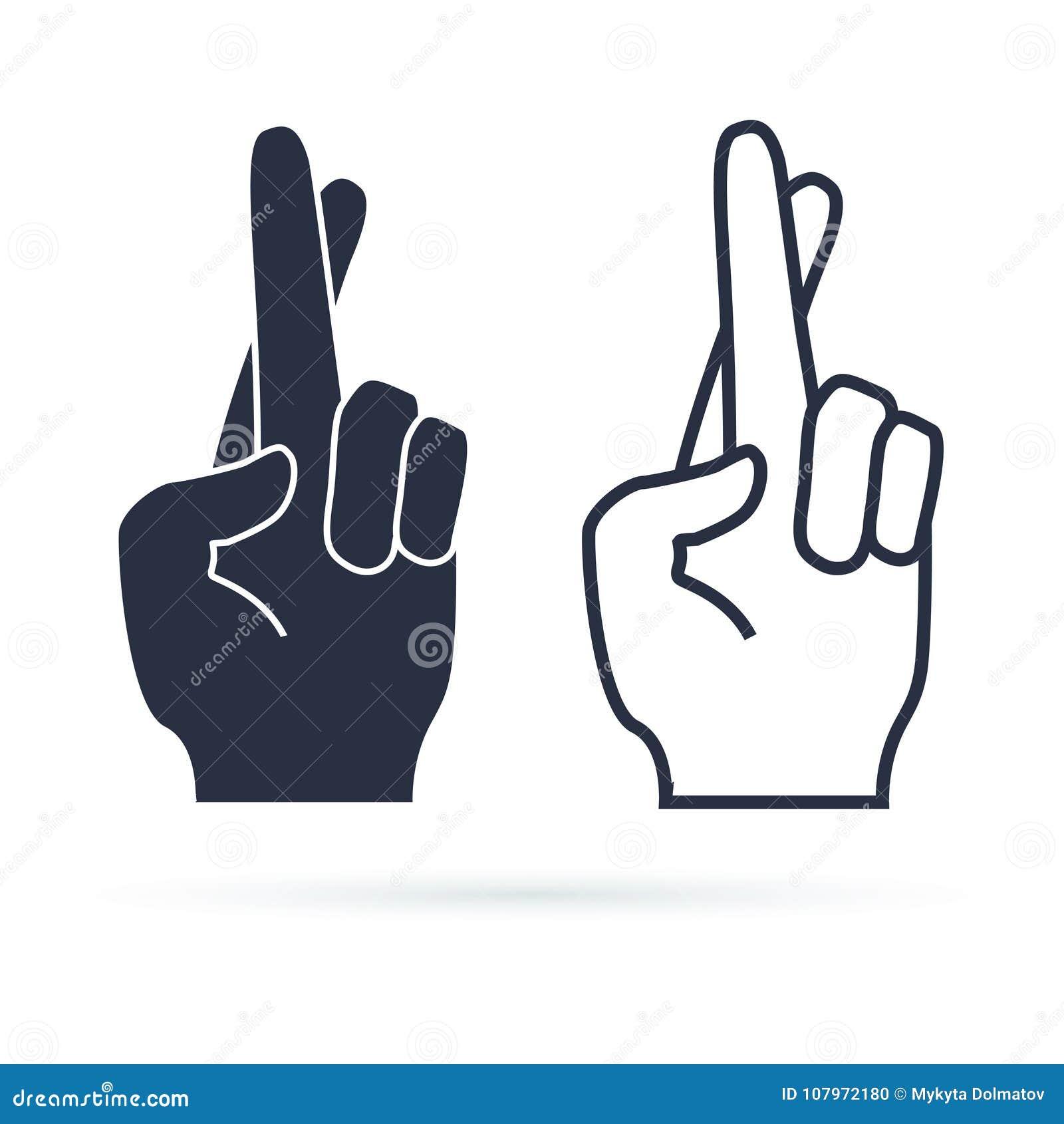 Fingeres cruzados, gesto de mano Mentira, en suerte, símbolo de la superstición o icono Ilustración del vector