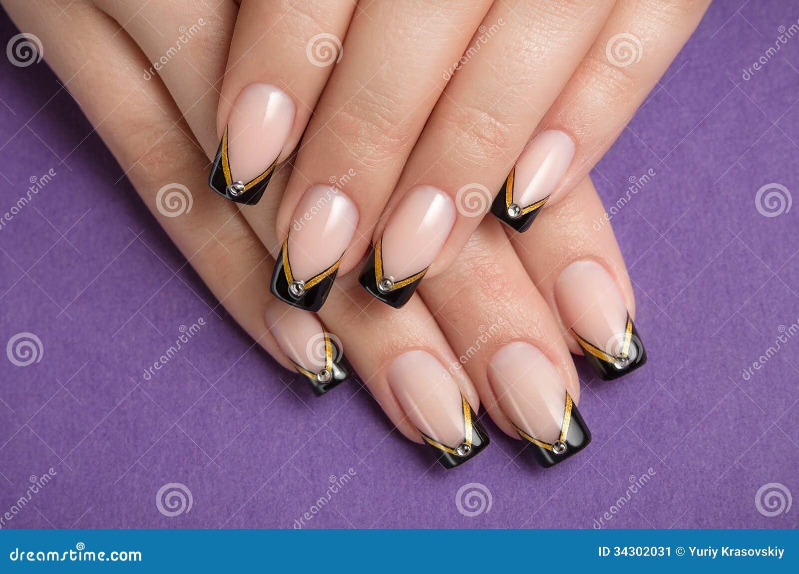 Fingernails With Black French Manicure Stock Image - Image of ...