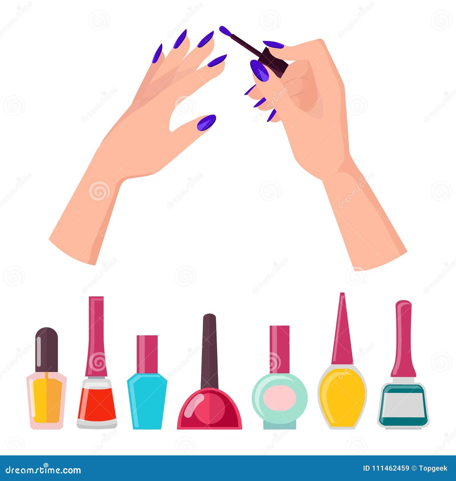 fingernails and polish poster vector illustration stock vector