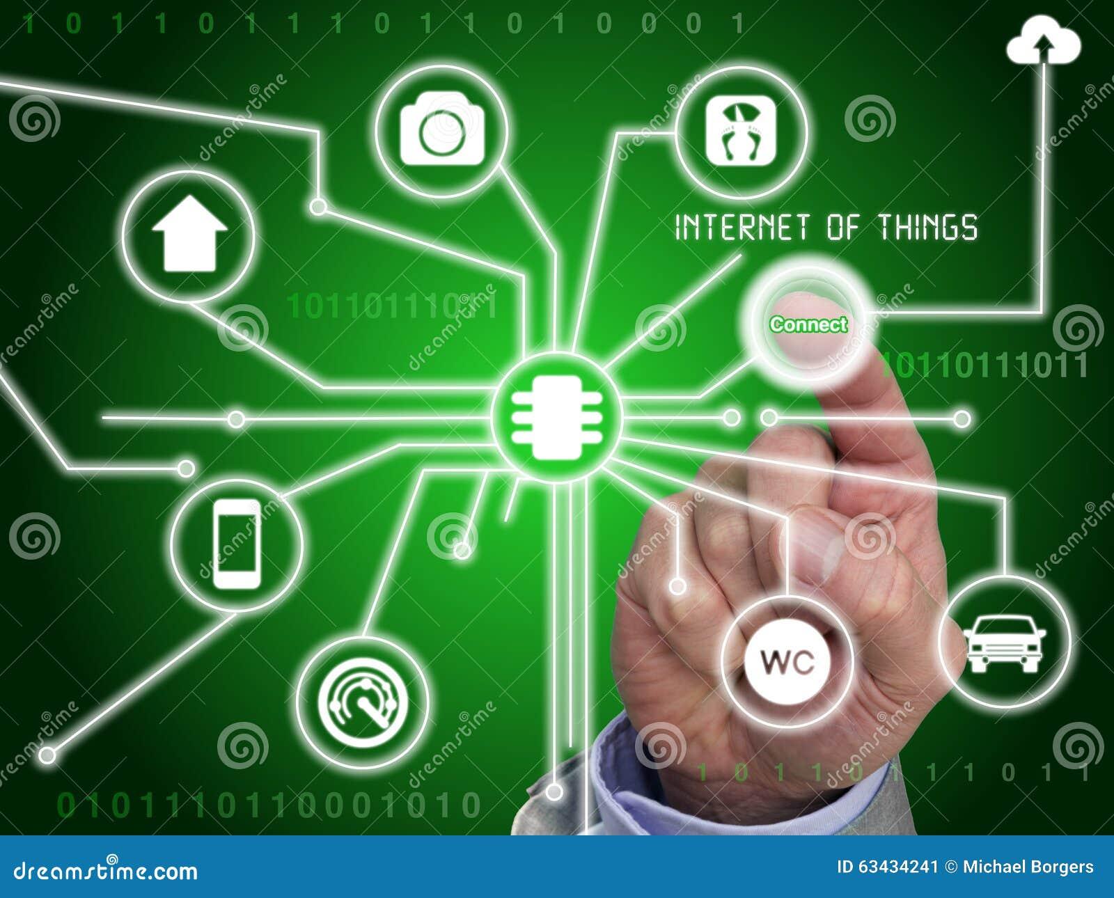 Fingerpressar knäppas för att förbinda till internet