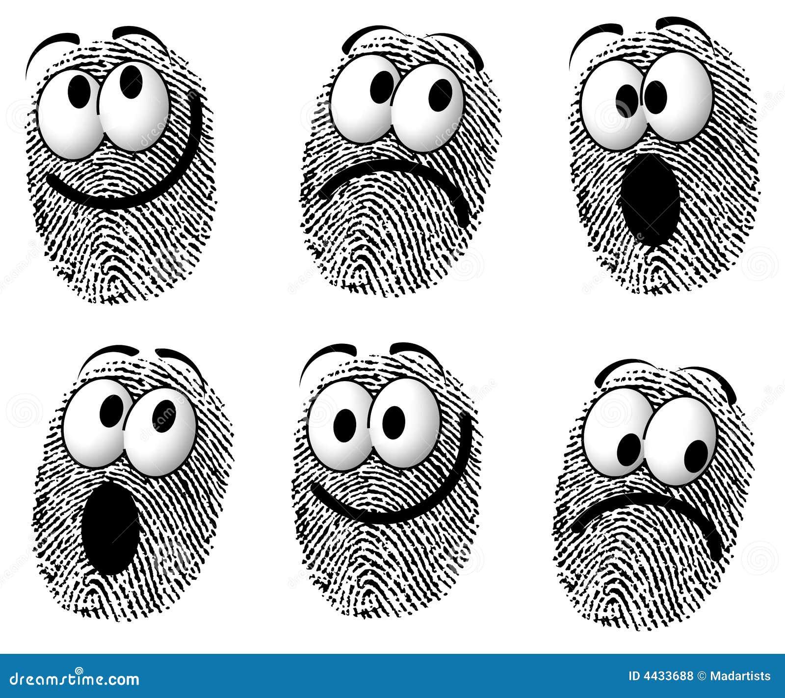 Fingerprint Cartoon Faces Stock Illustration Illustration