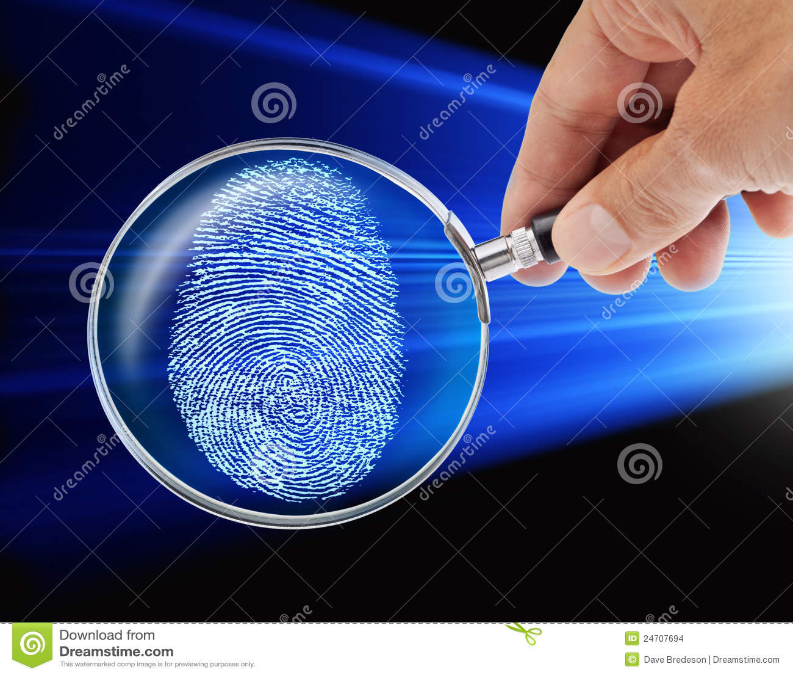 Fingerprint Hand Magnifying Glass Security Hacker
