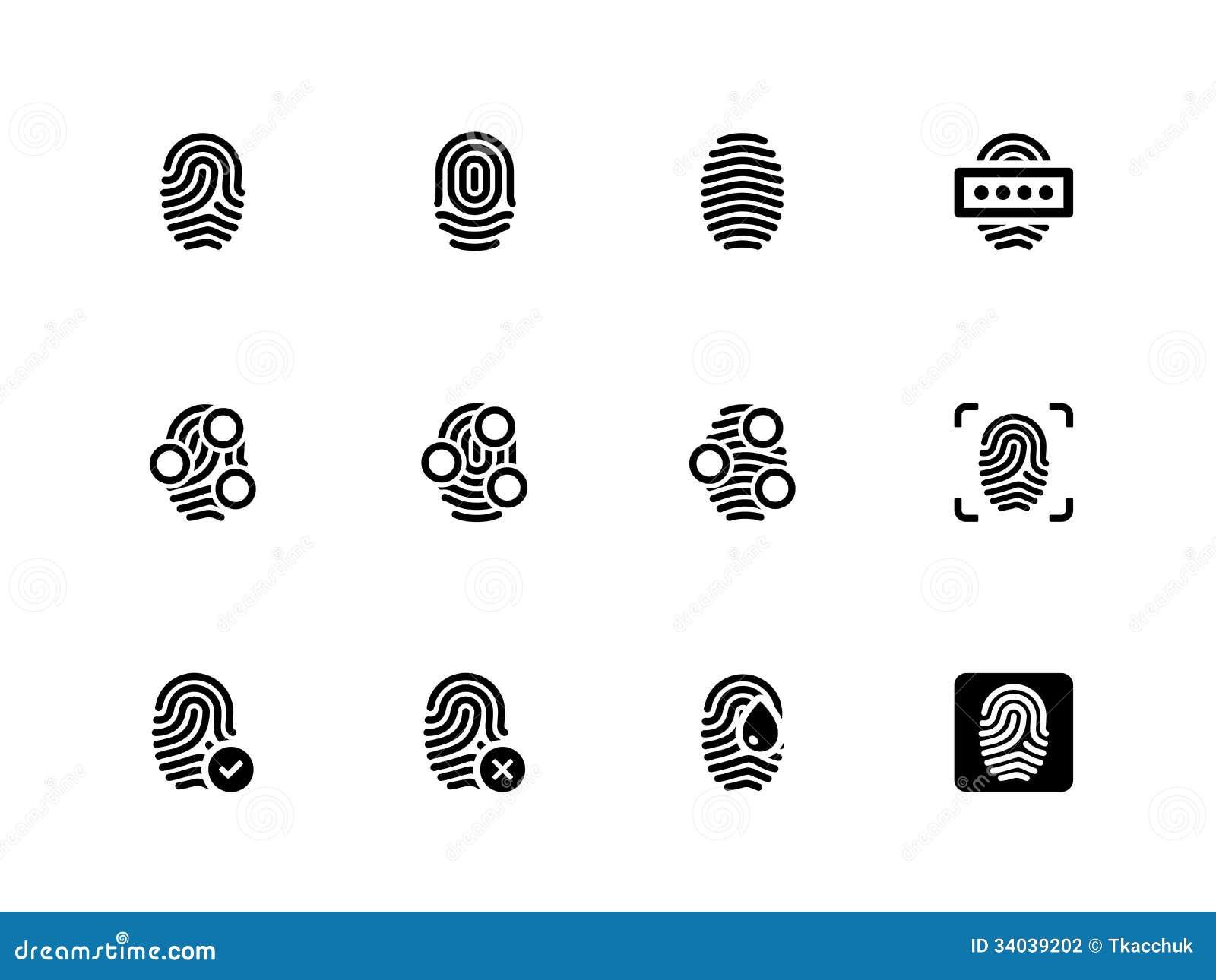 Fingerprint Icons On White Background. Stock Photography ...