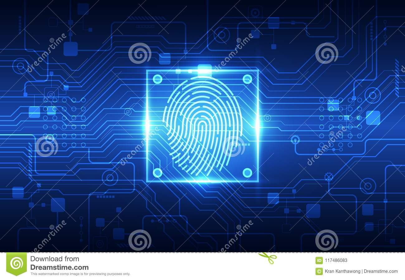 Fingerprint Integrated In A Printed Circuit Releasing Binary Codes Drawing Modern Electronic Security Concept Of Electronics Scanning Identification System