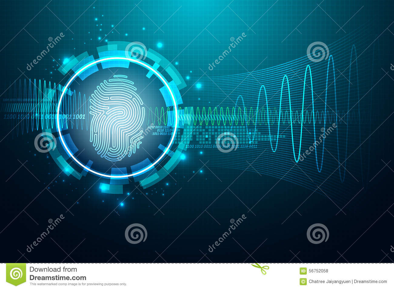 Fingerprint Letter P Security System Concept Stock Vector