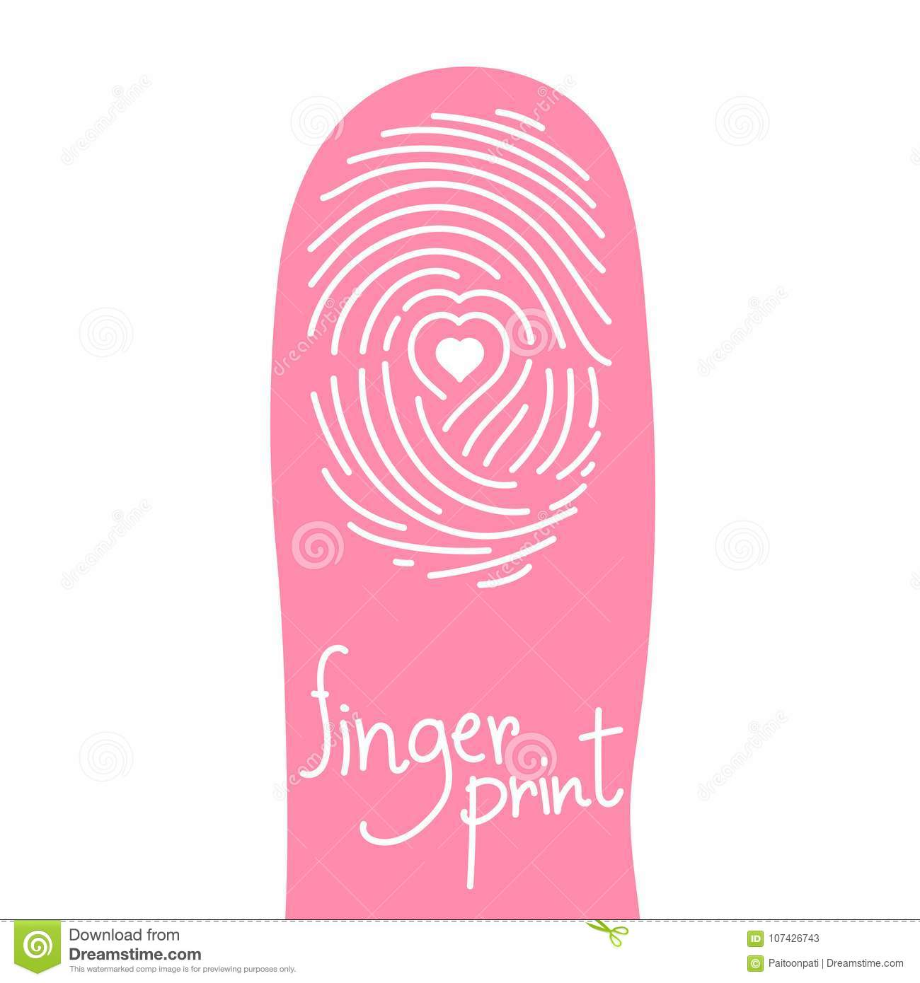 fingerprint scan on finger silhouette set with love heart symbol