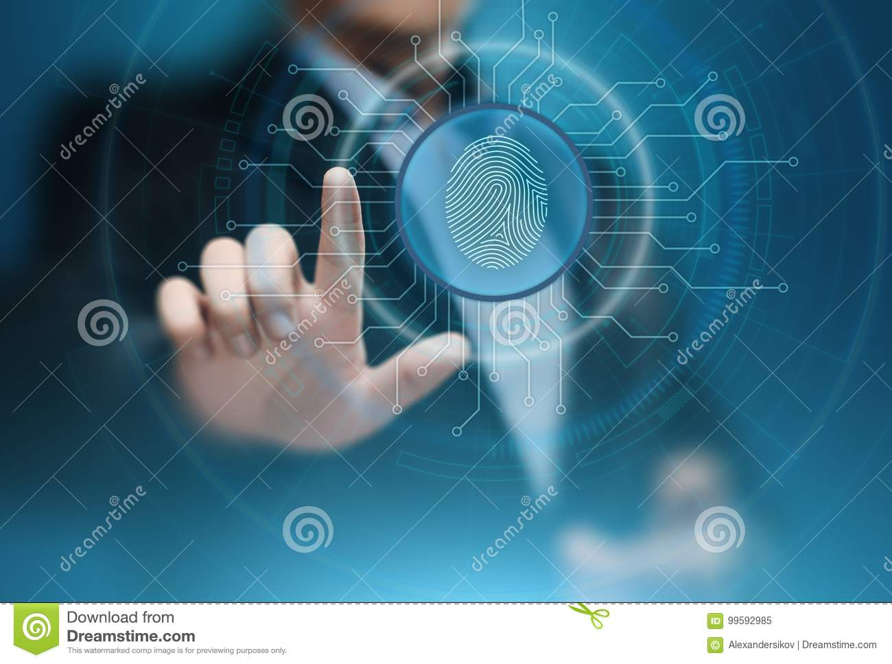 Fingerprint scan provides security access with biometrics identification. Business Technology Safety Internet Concept