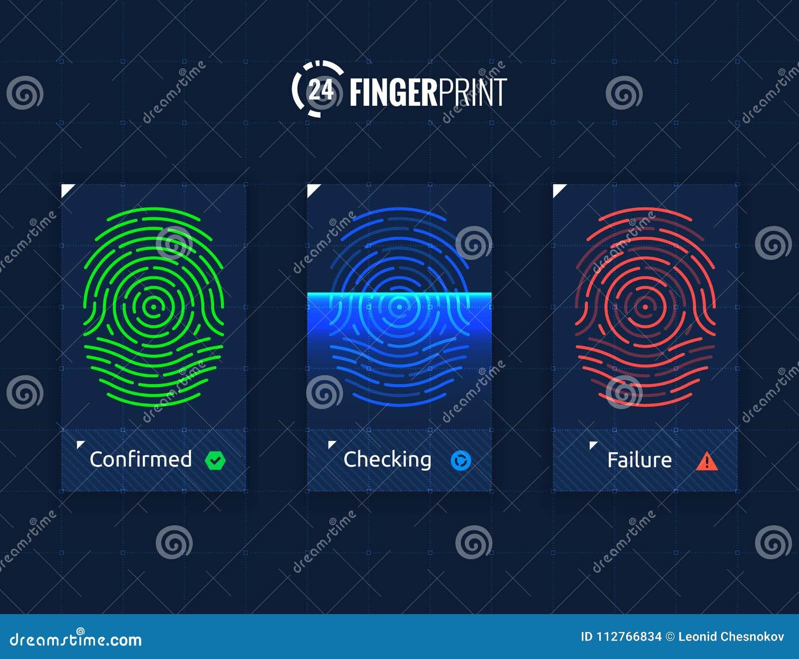 Fingerprint Scan Technology Icons Set Stock Vector - Illustration of