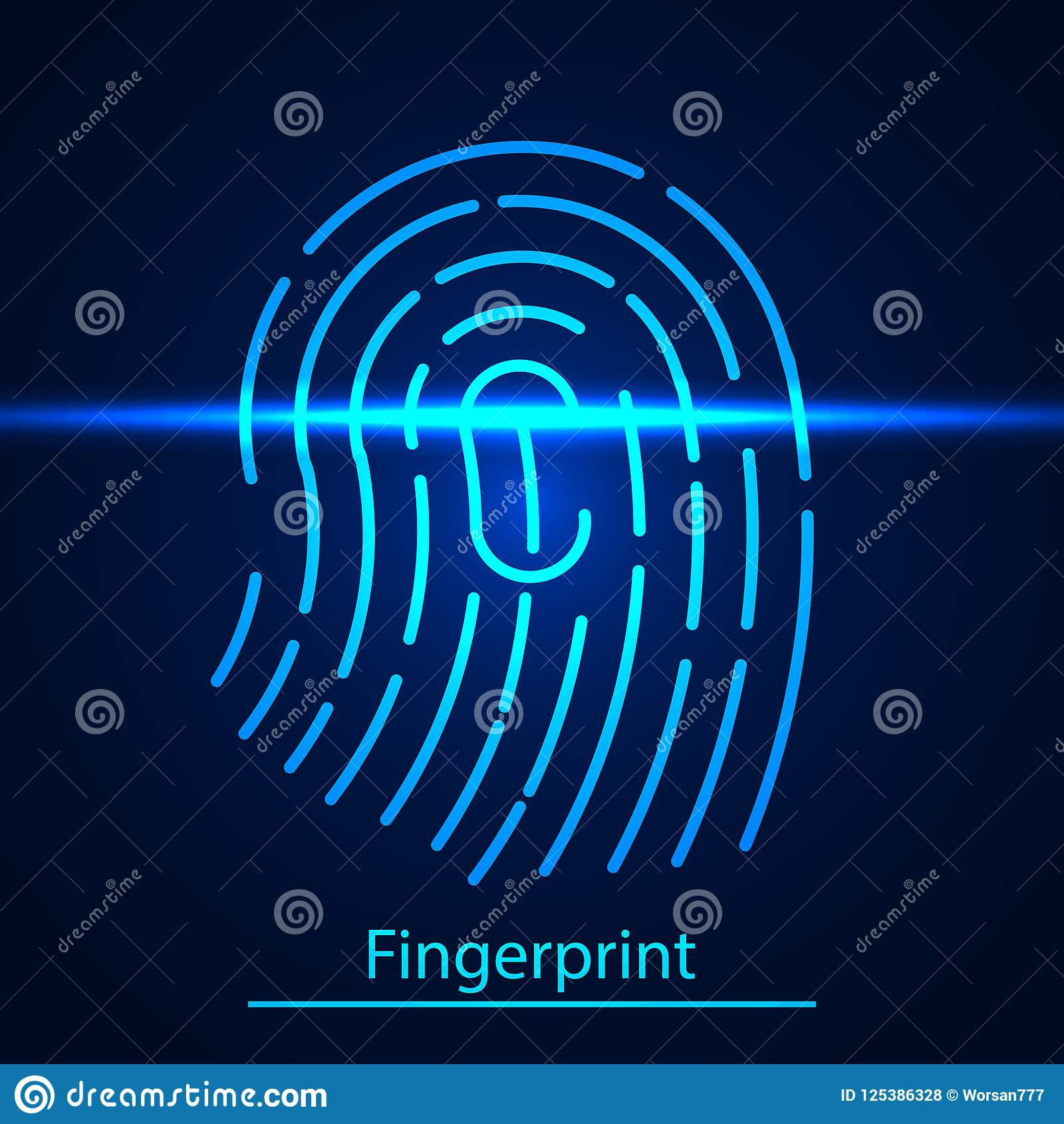 Fingerprint technology scanning Identification system. Fingerprint on blue scanning laser screen.