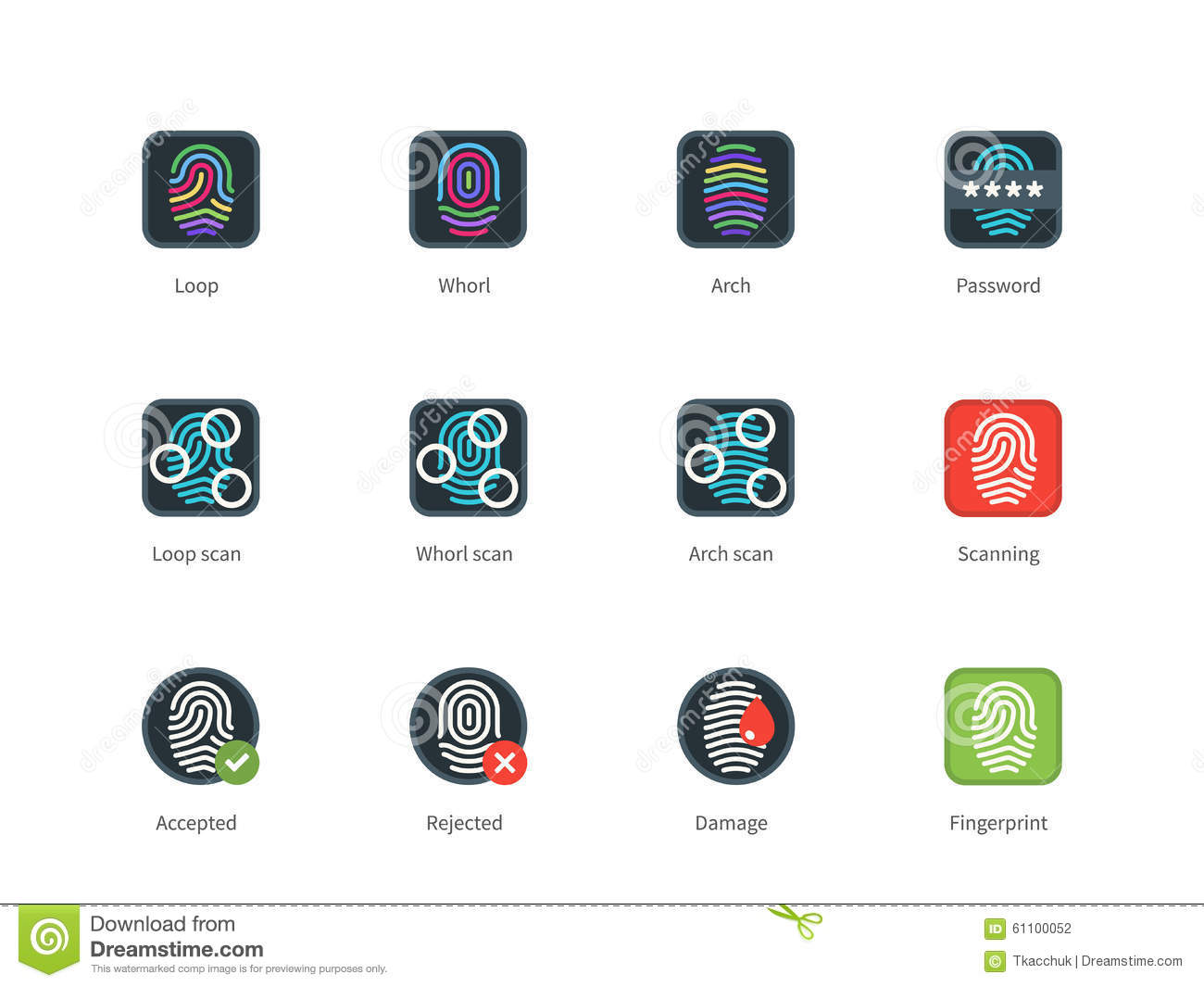 Download Fingerprint Types And Scanning Color Icons Stock Vector