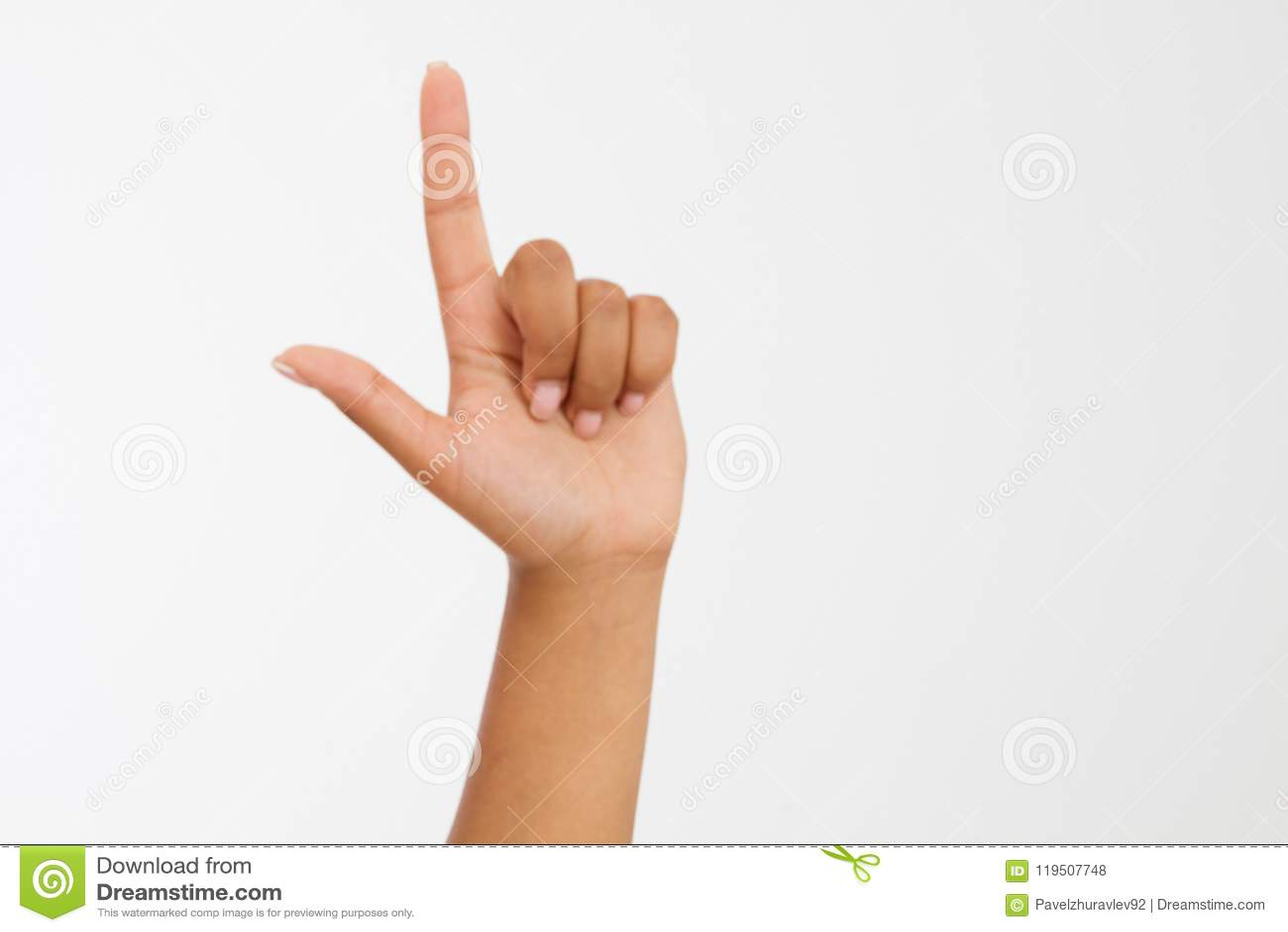 Fingerpunkt-Weißhintergrund afroe-amerikanisch Hand Spott oben Kopieren Sie Platz schablone leerzeichen